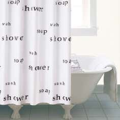 Black and White Words Shower Curtain