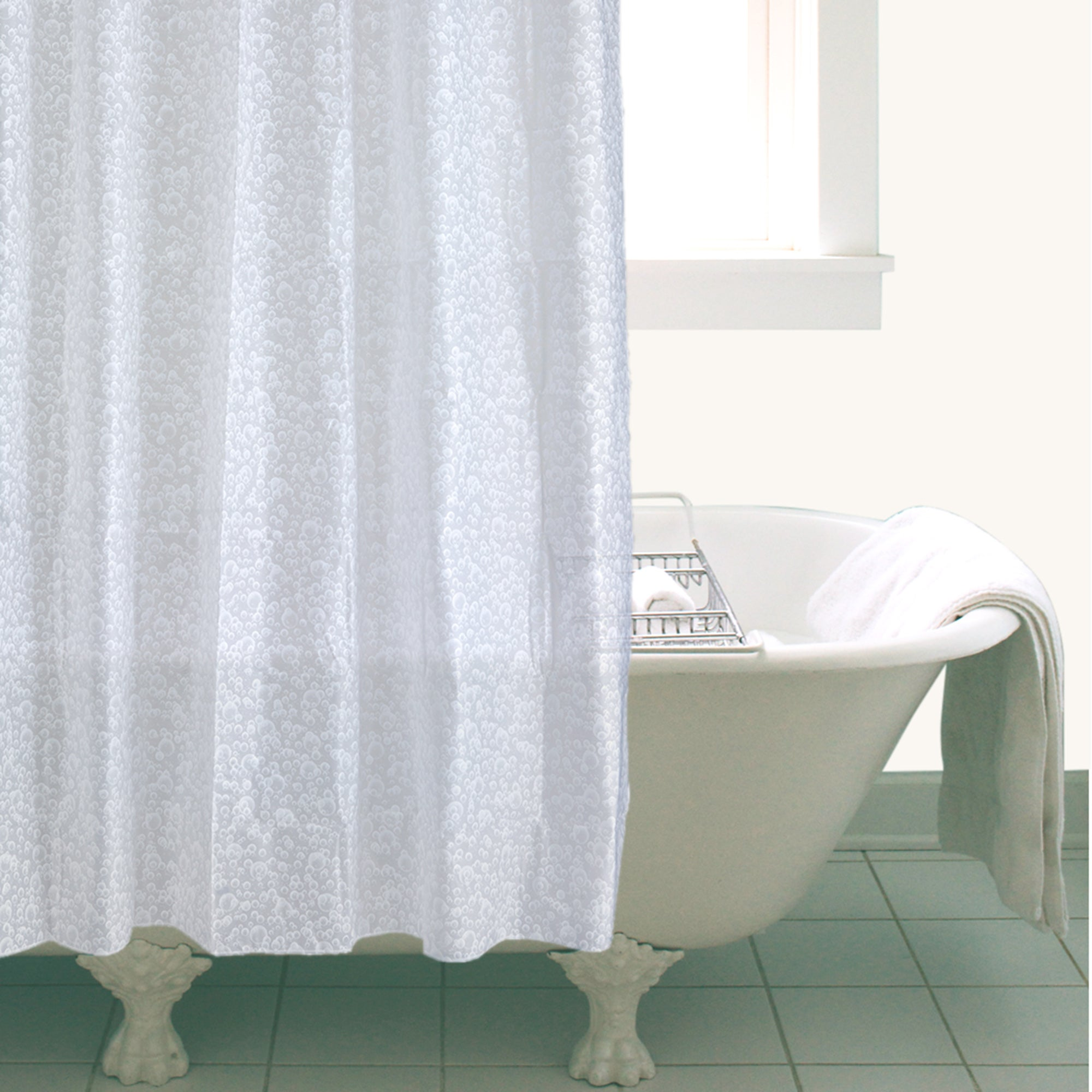 White Bubbles Shower Curtain
