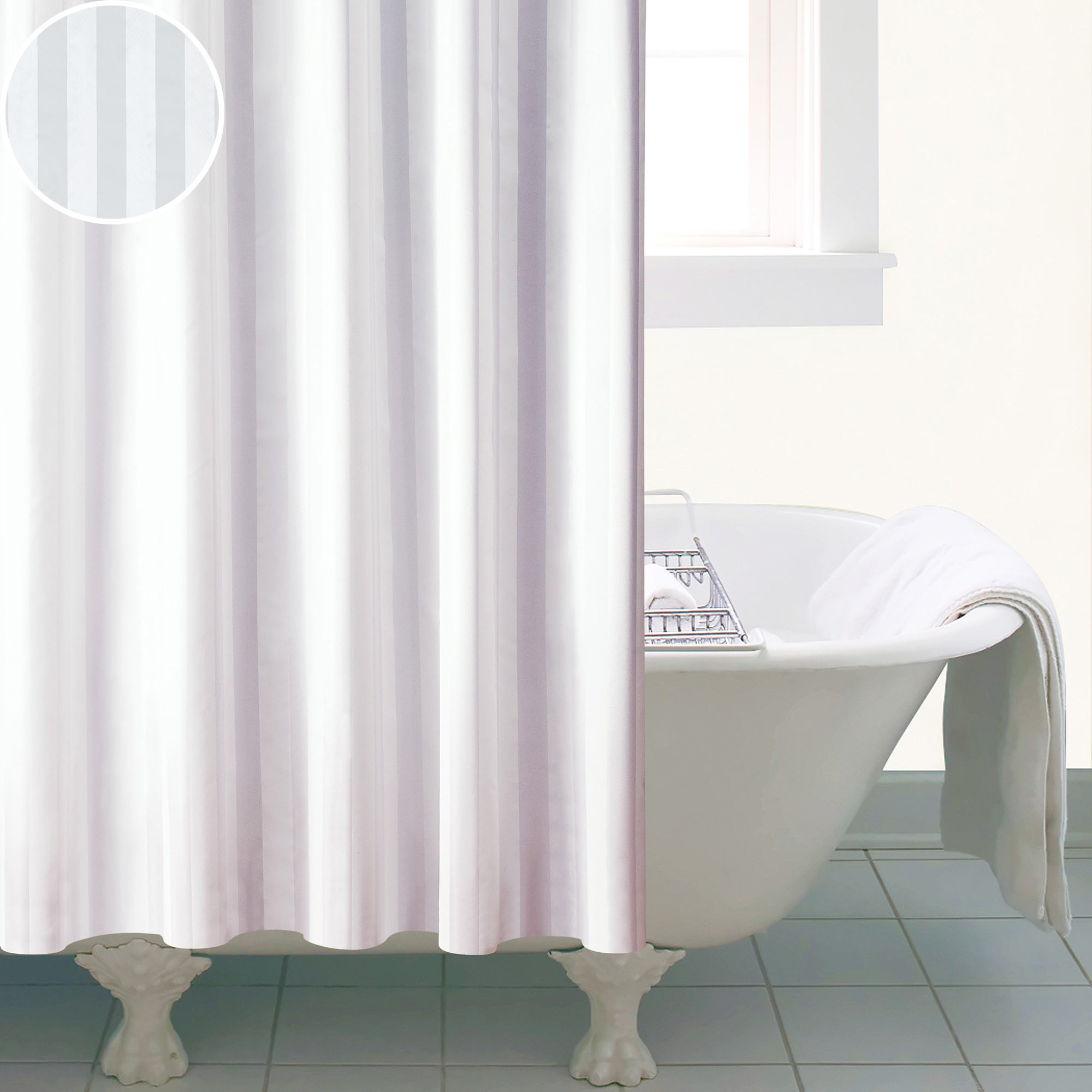 White Satin Stripe Shower Curtain