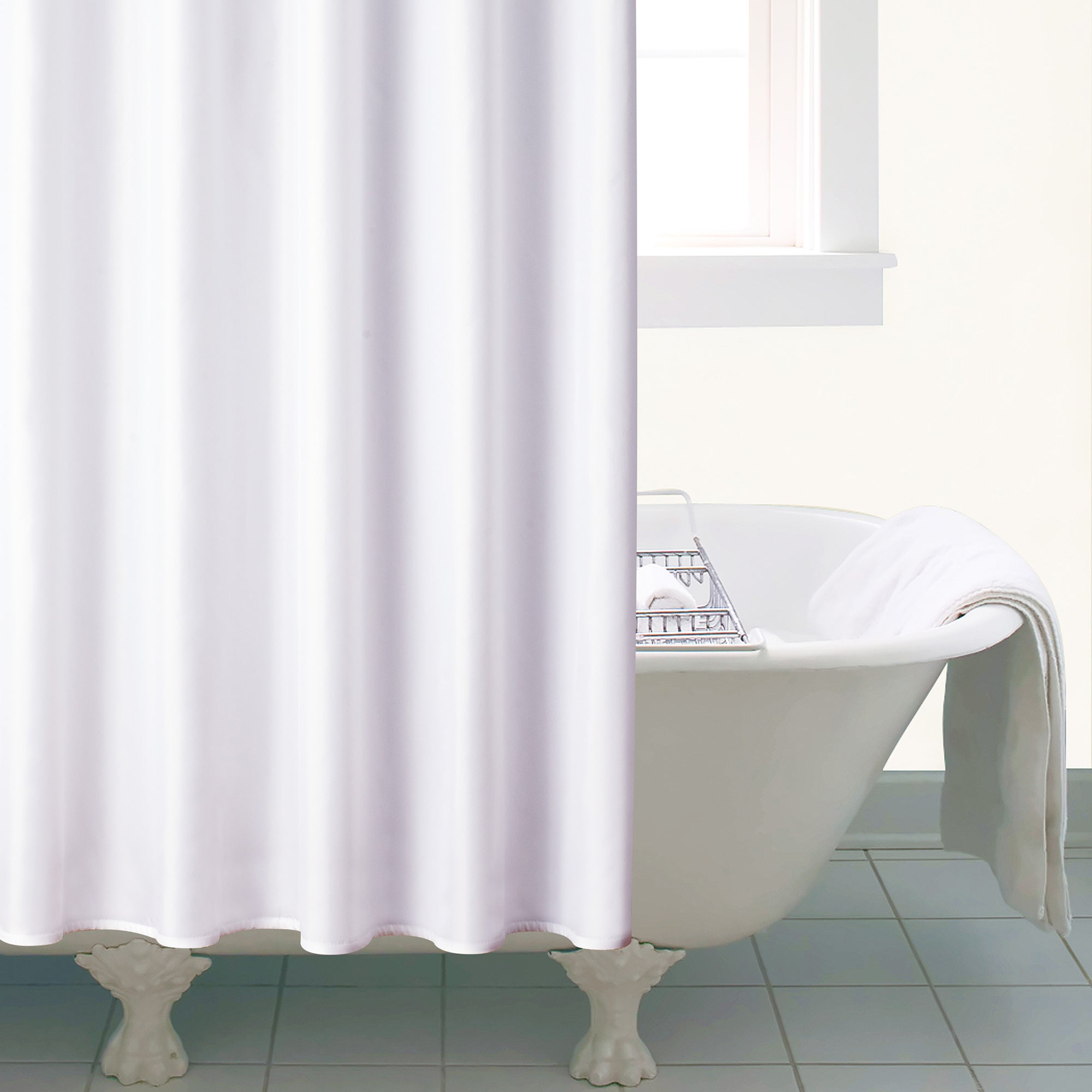 White Ceramic Shower Curtain