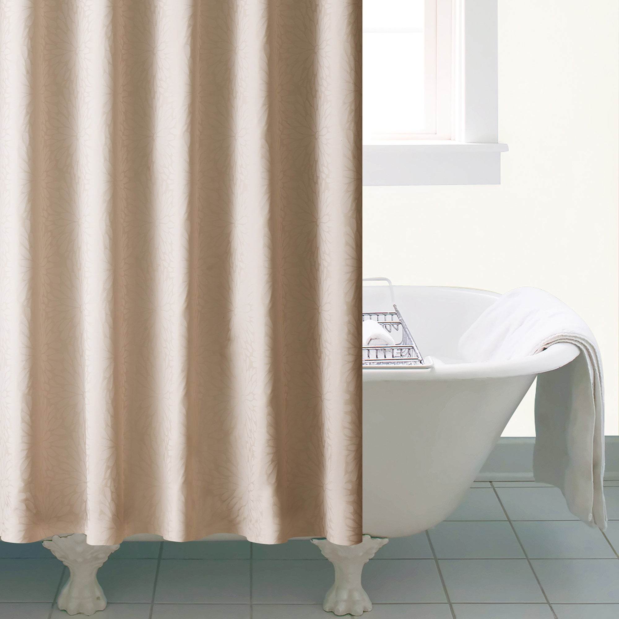 Beige Petals Shower Curtain