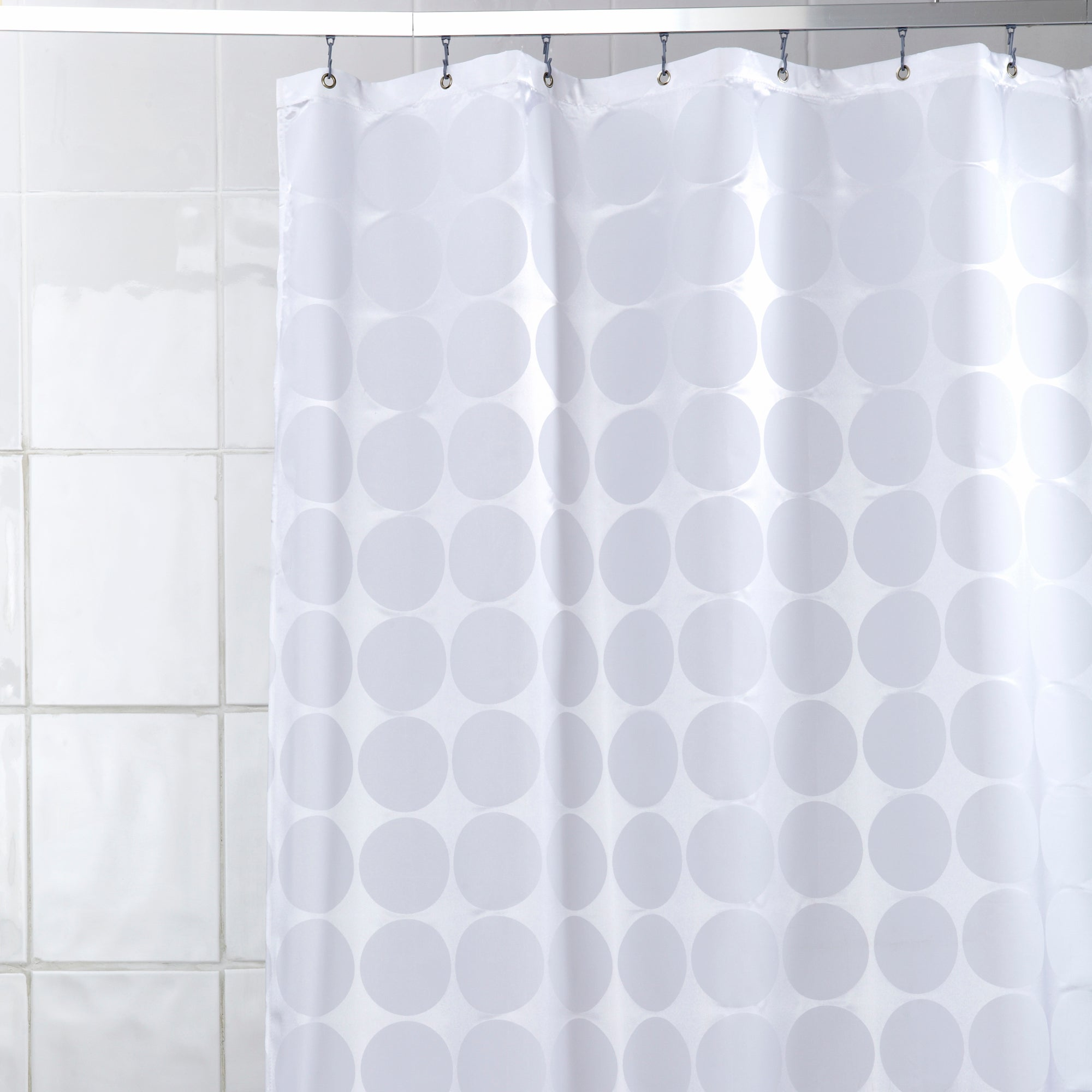 White Satin Circle Shower Curtain
