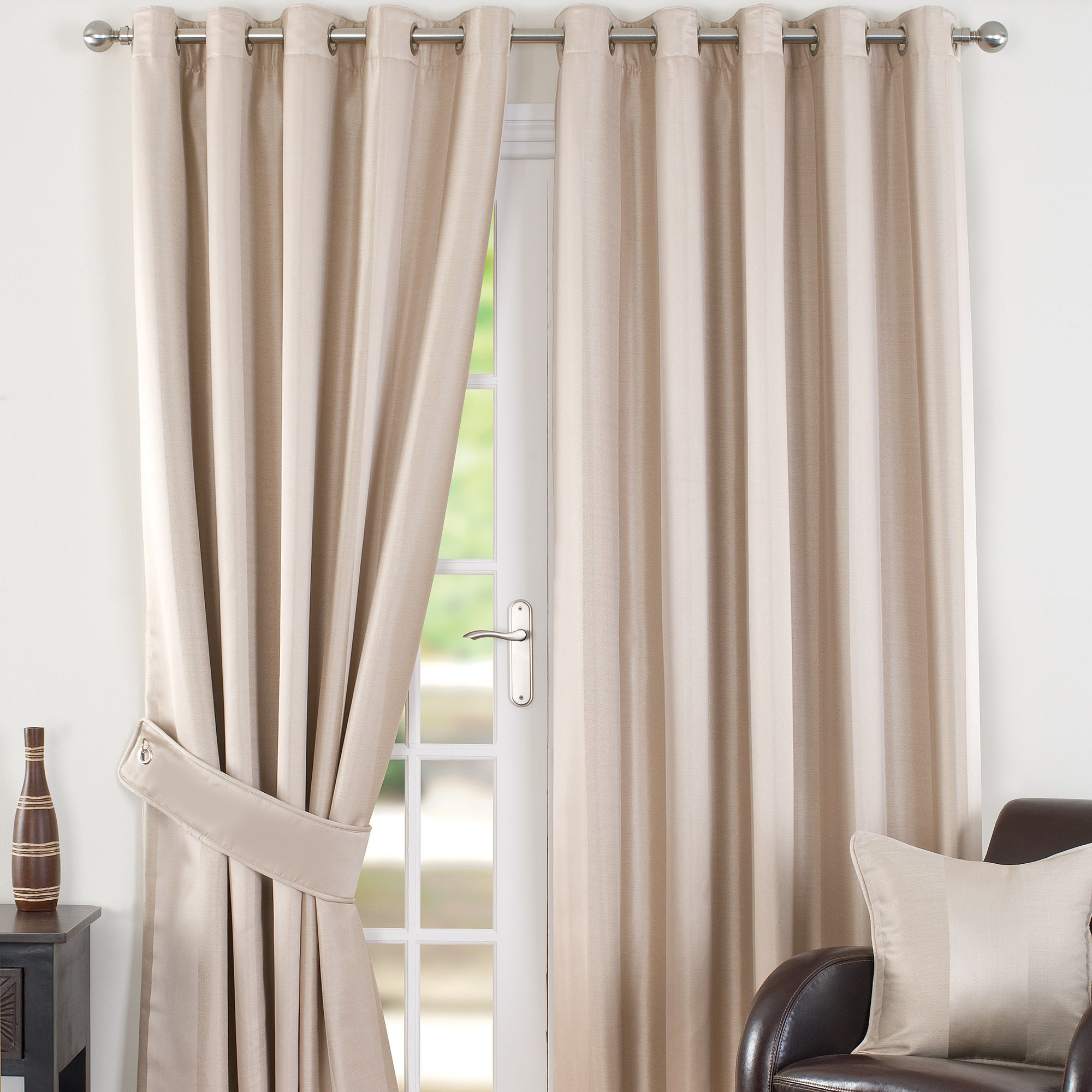 Cream Monaco Lined Eyelet Curtains