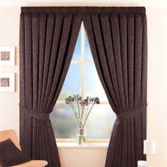 Chocolate Toledo Thermal Pencil Pleat Curtains