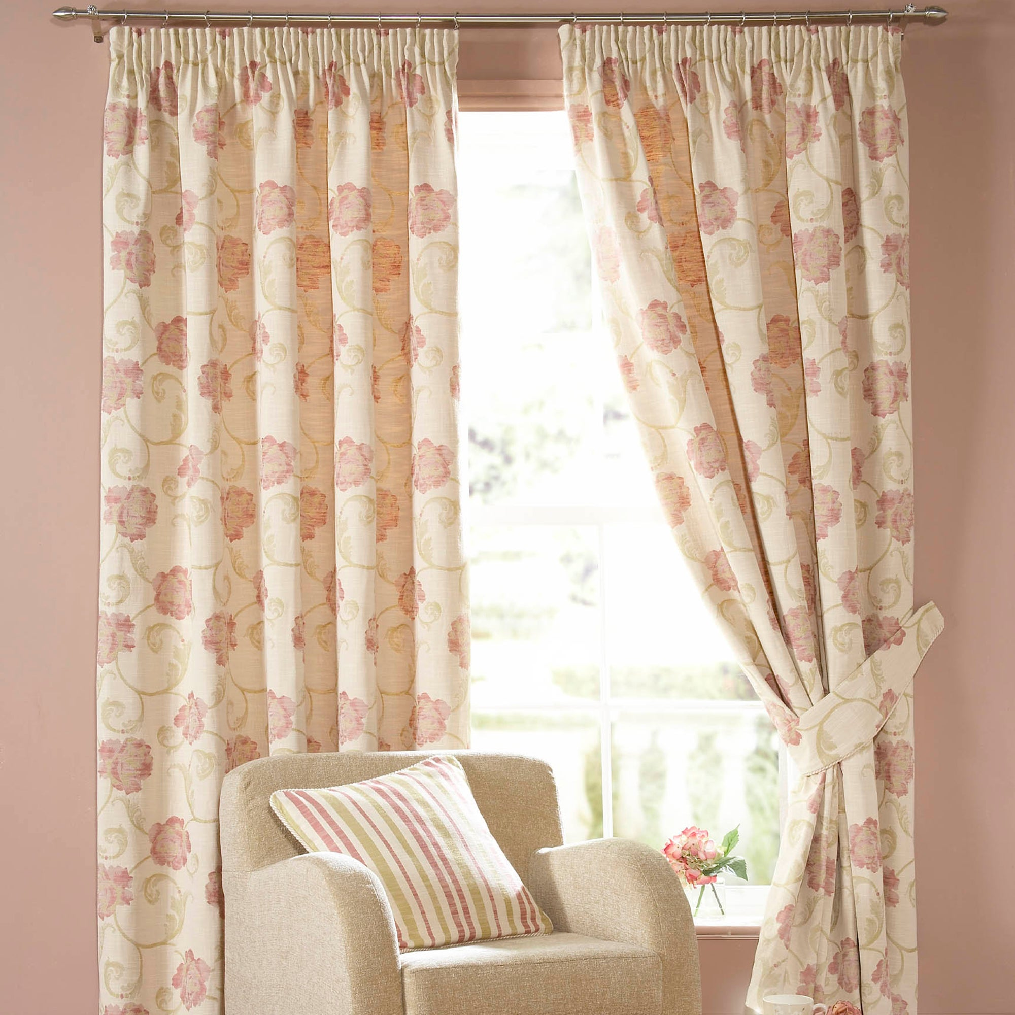Cream Isabella Lined Pencil Pleat Curtains