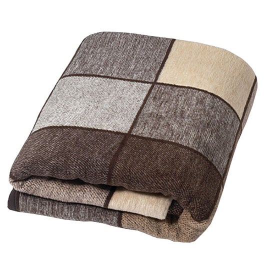 Thermosoft Chocolate Checked Blanket