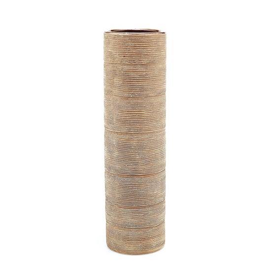 Caramel Ribbed Cylinder Vase