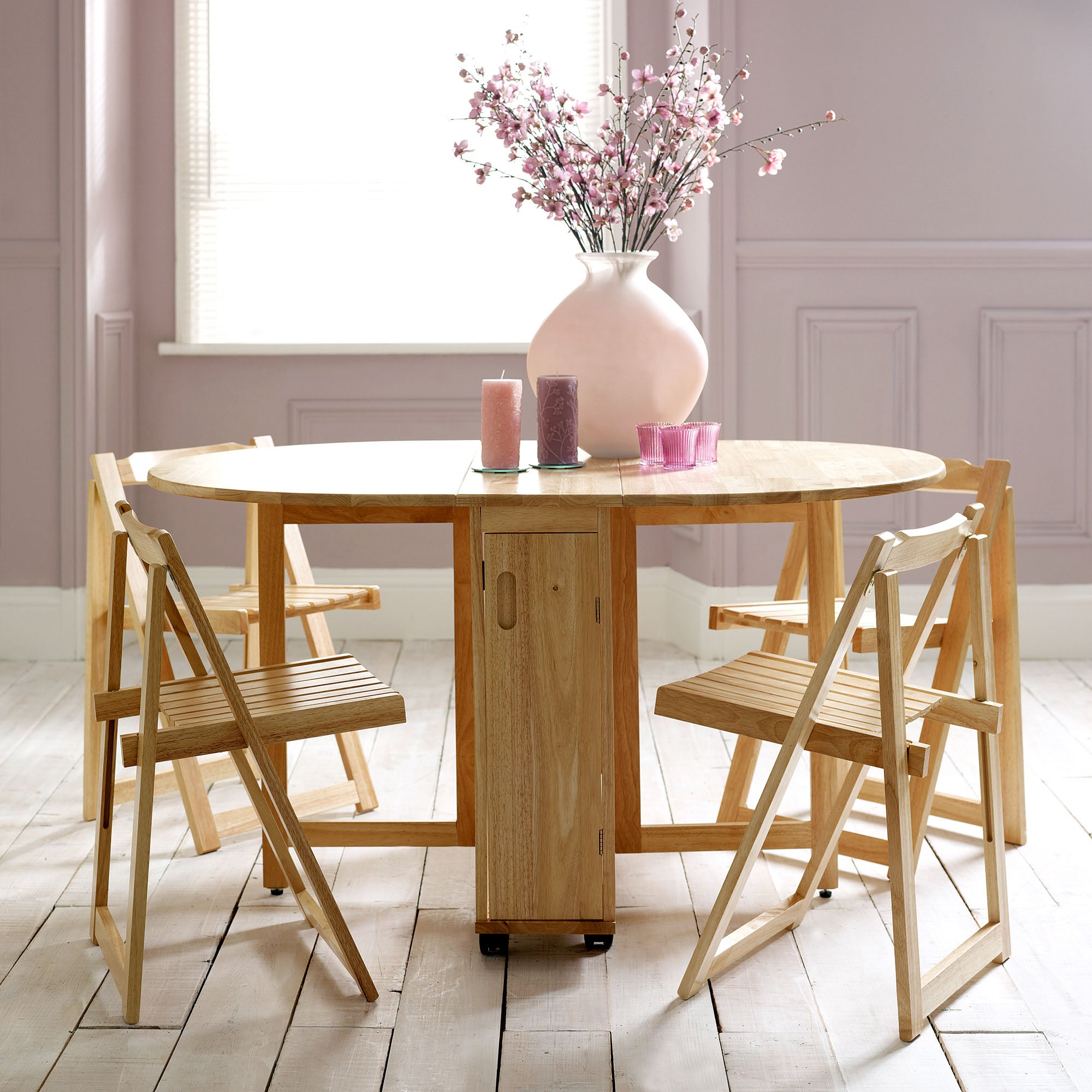 Rubberwood Butterfly Table with 4 Chairs
