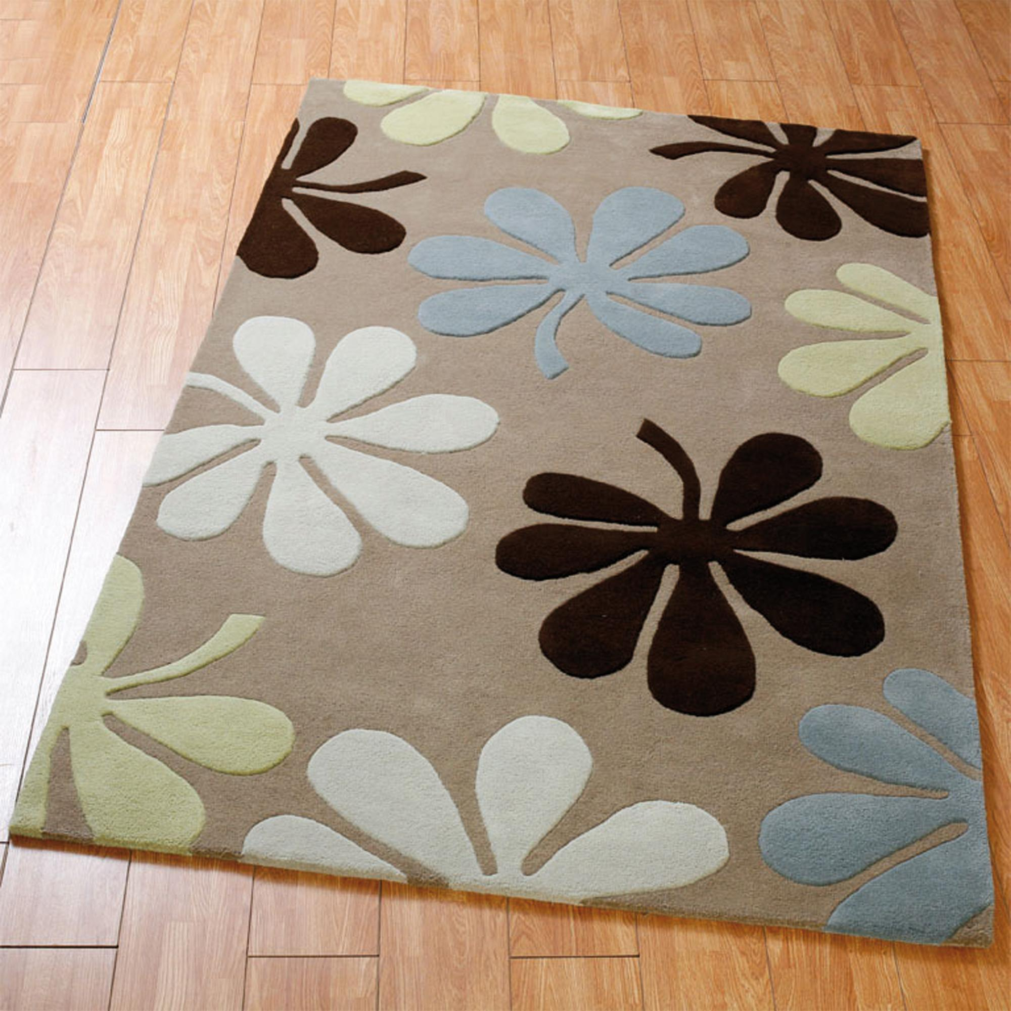 Brown Daisy Wool Rug