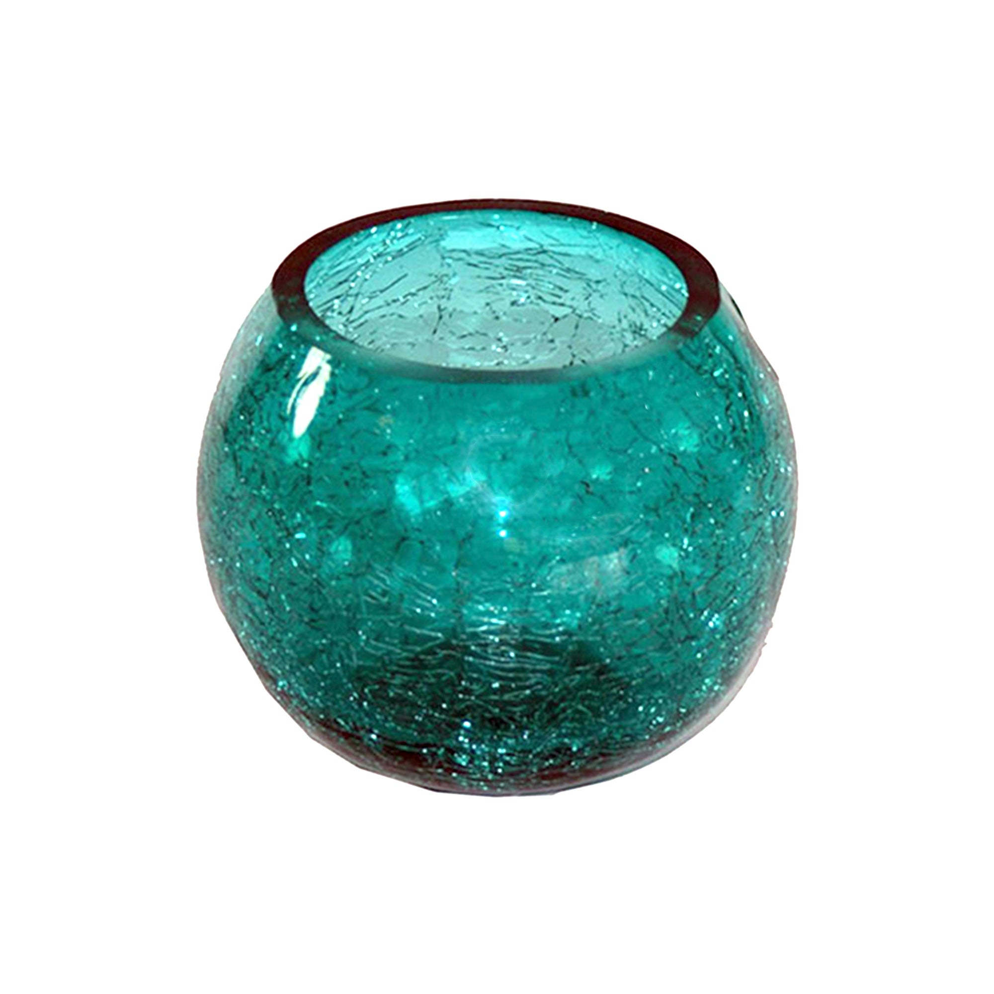 Teal Crackle Glass Collection Round Bowl