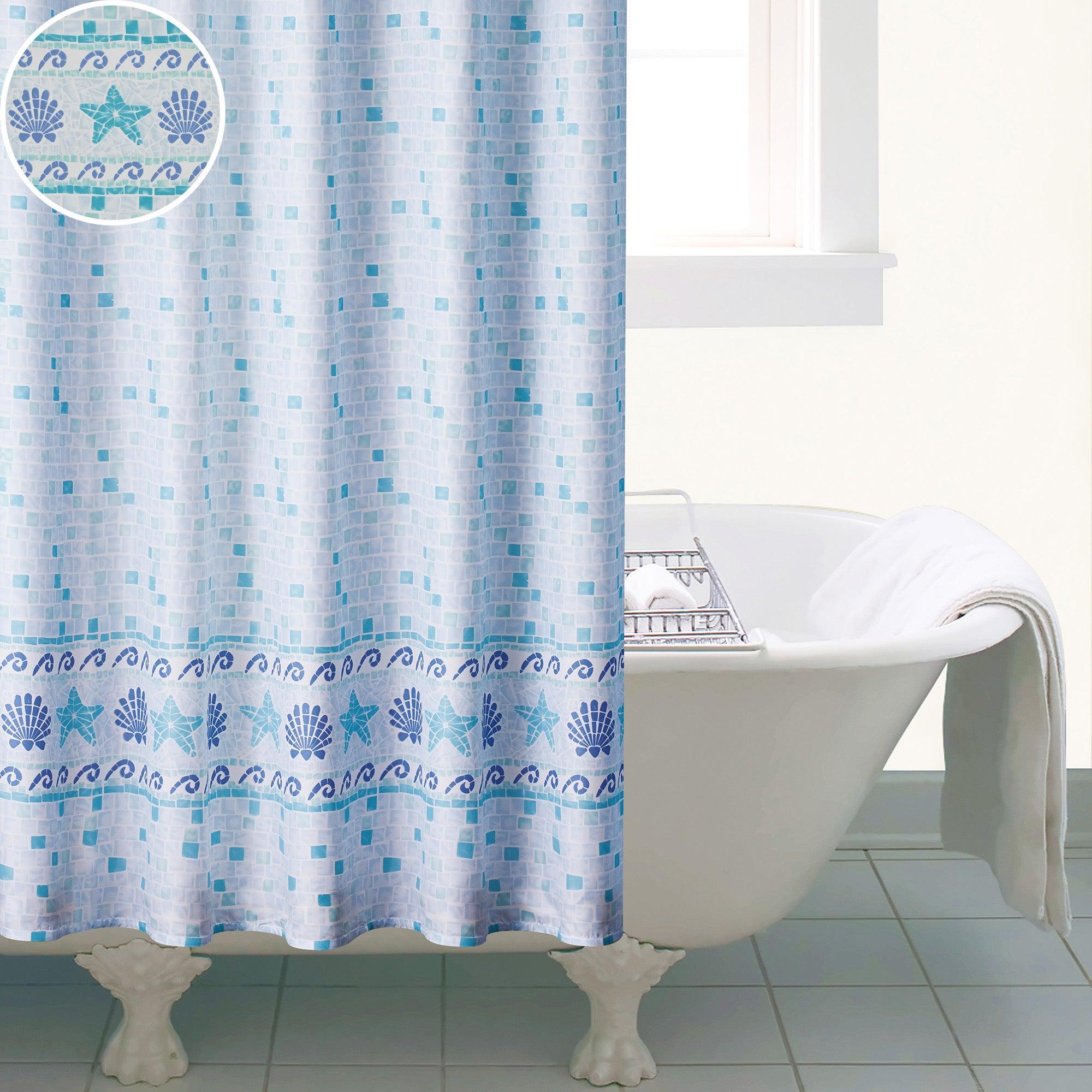 Blue Mosaic Shower Curtain