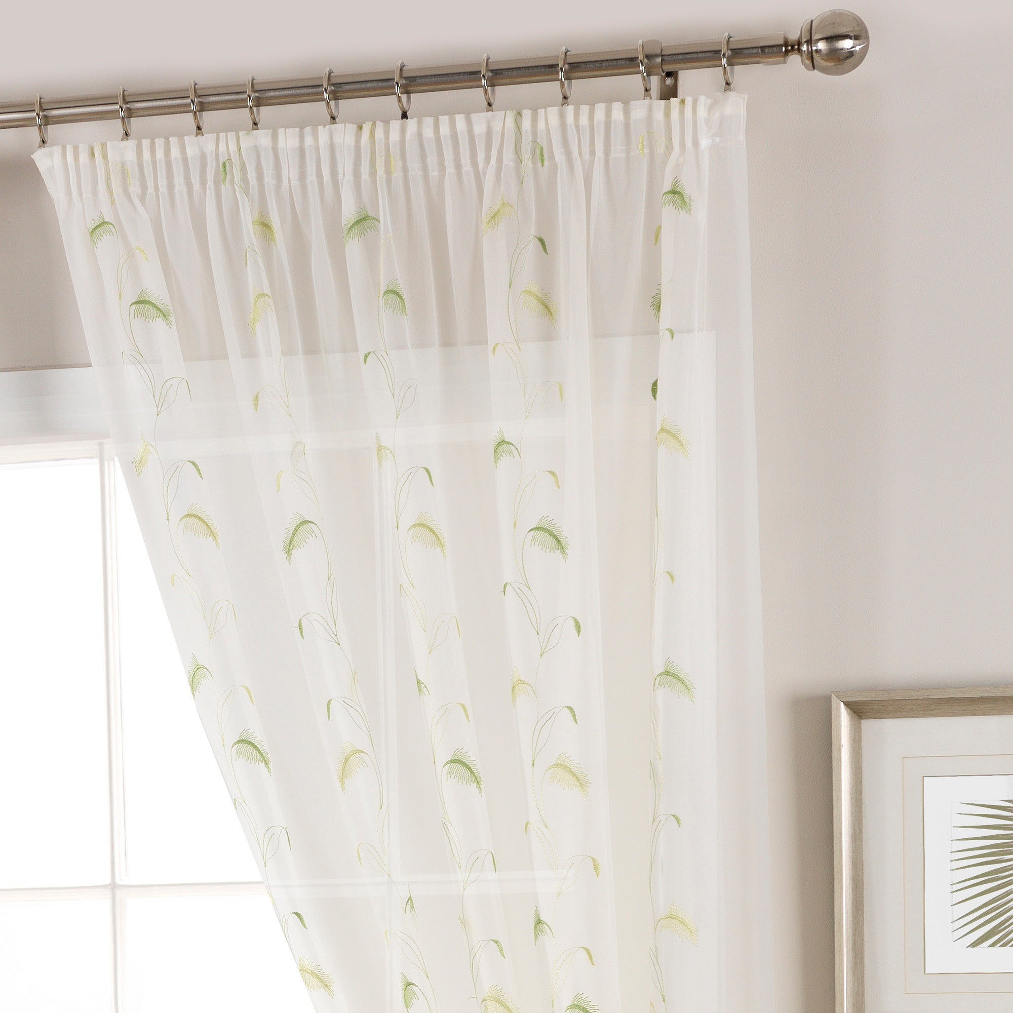 Green Pampas Voile Panel