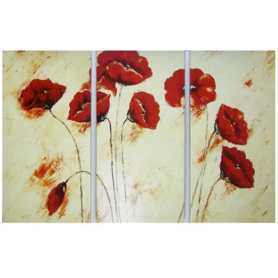 Triptych Poppies Canvas