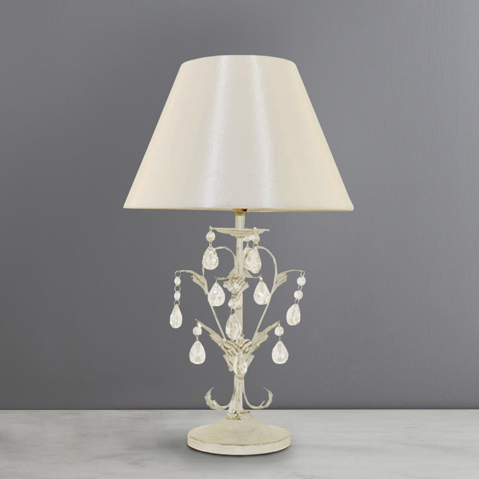 Leaf and Crystal Table Lamp