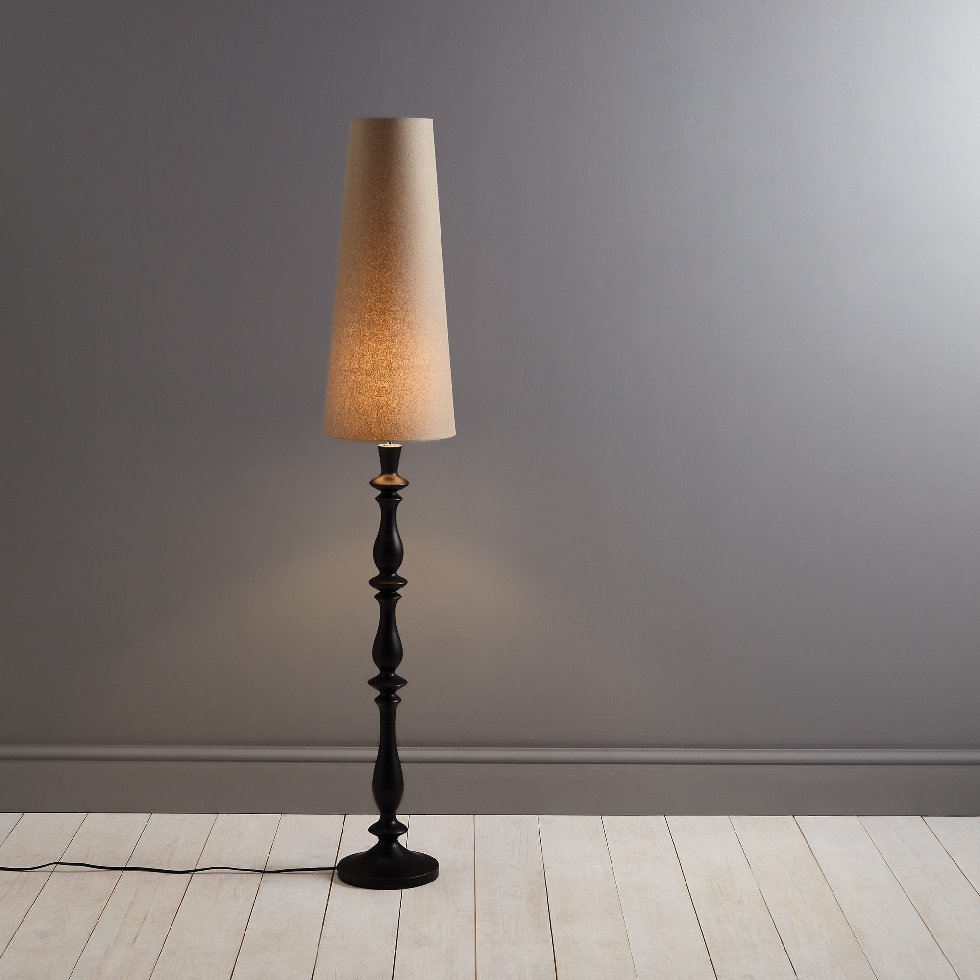 Turned Wooden Floor Lamp