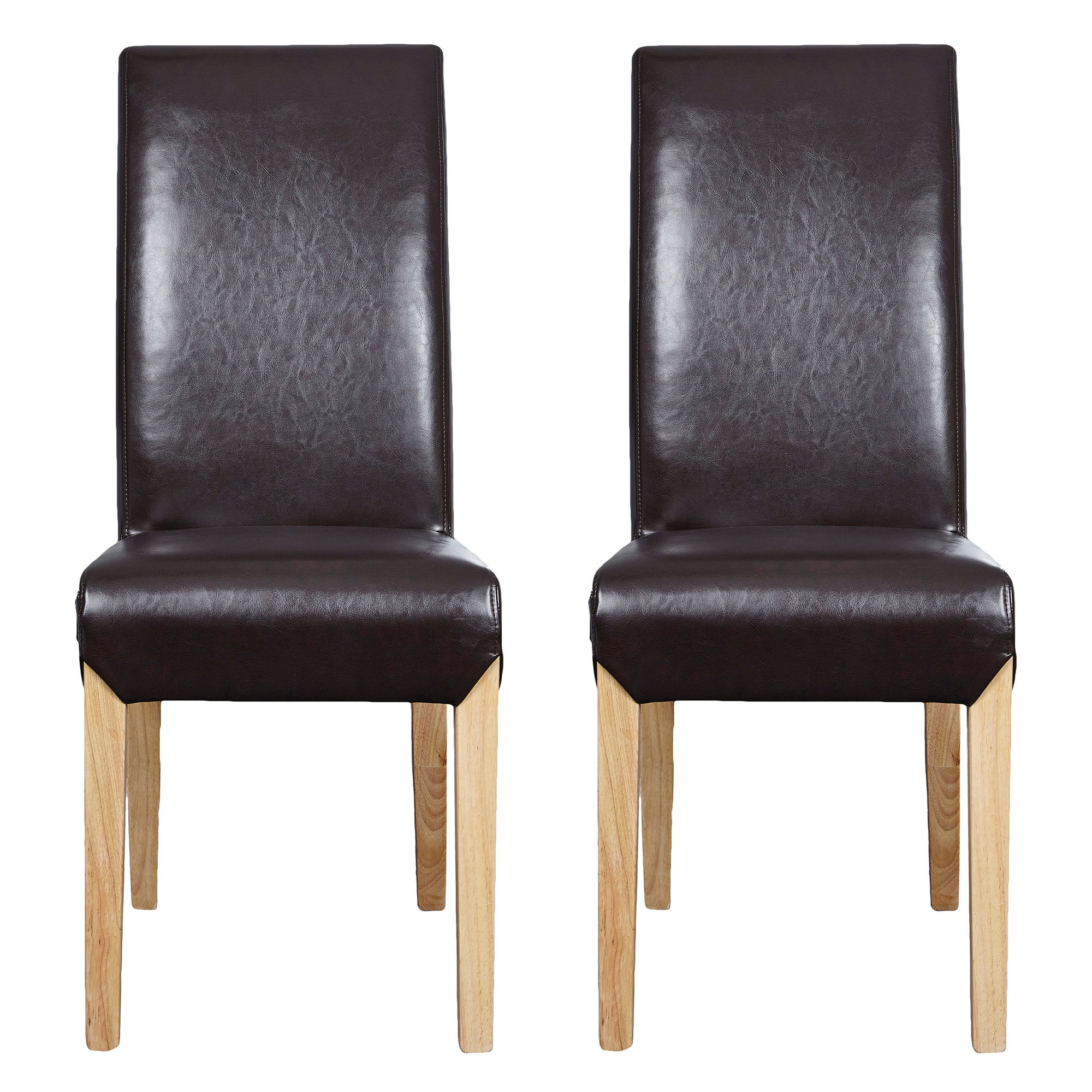 Milan Leather Faced Pair of Dining Chairs