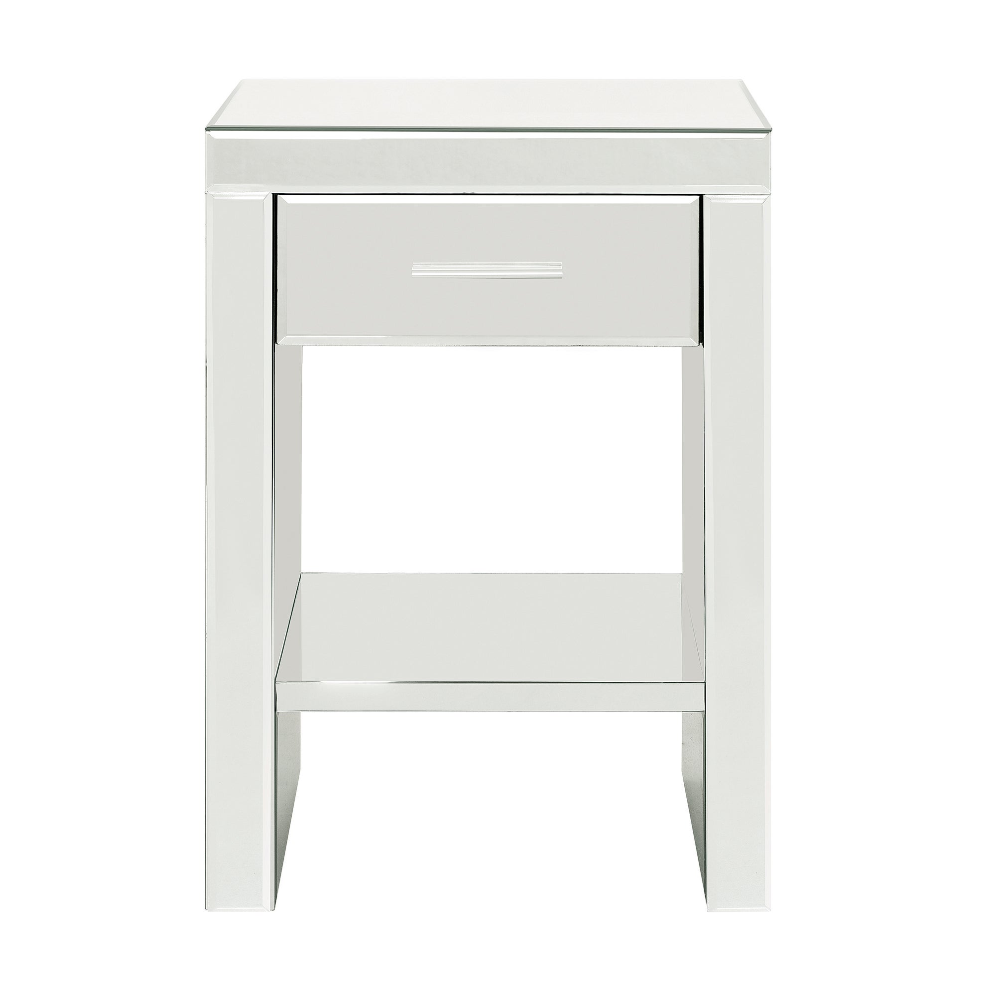 Venetian Mirrored 1 Drawer Nightstand