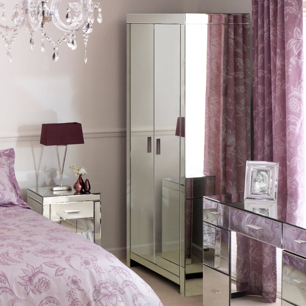 Venetian Mirrored Furniture 2 Door Wardrobe