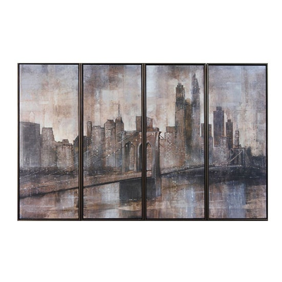 Quad Brooklyn Bridge Textured Print