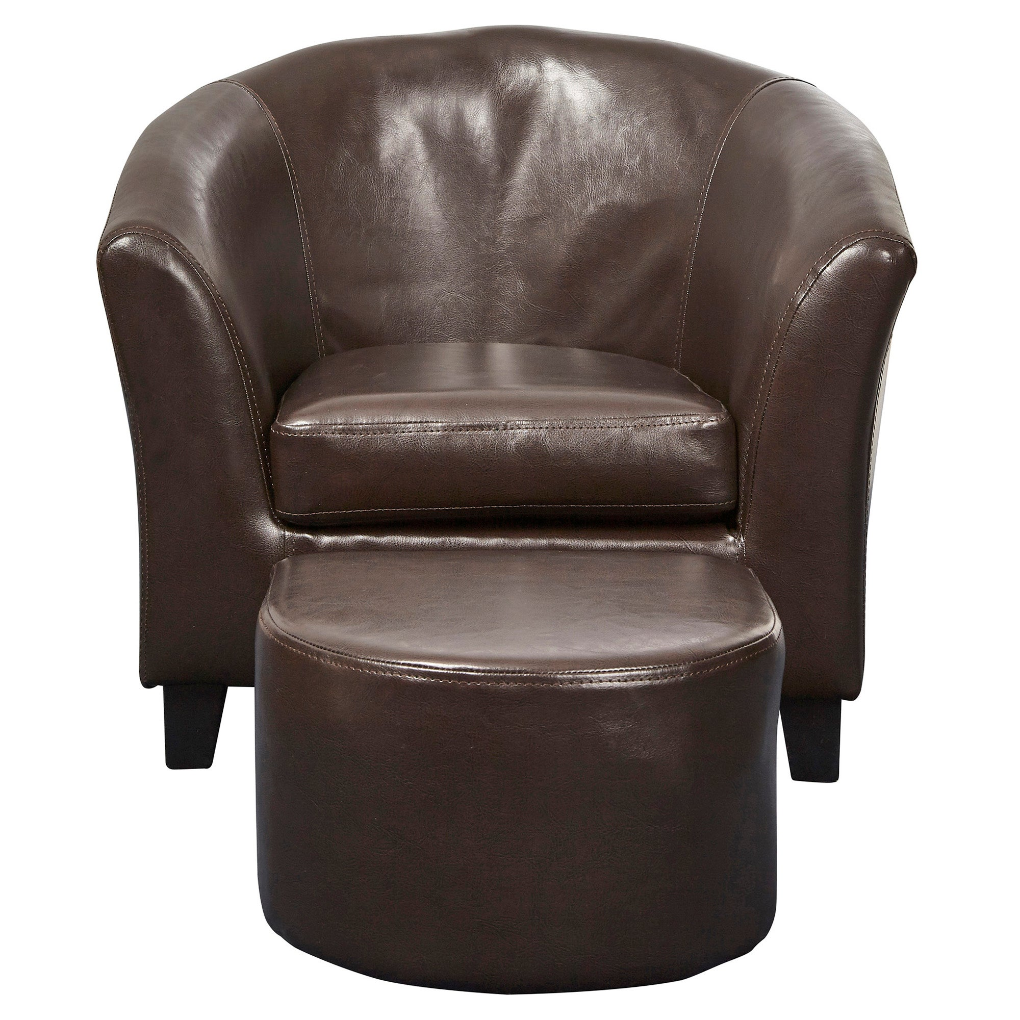 Kids Brown Faux Leather Tub Chair and Stool Brown