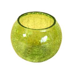 Key Lime Collection Crackle Glass Round Tea Light Holder