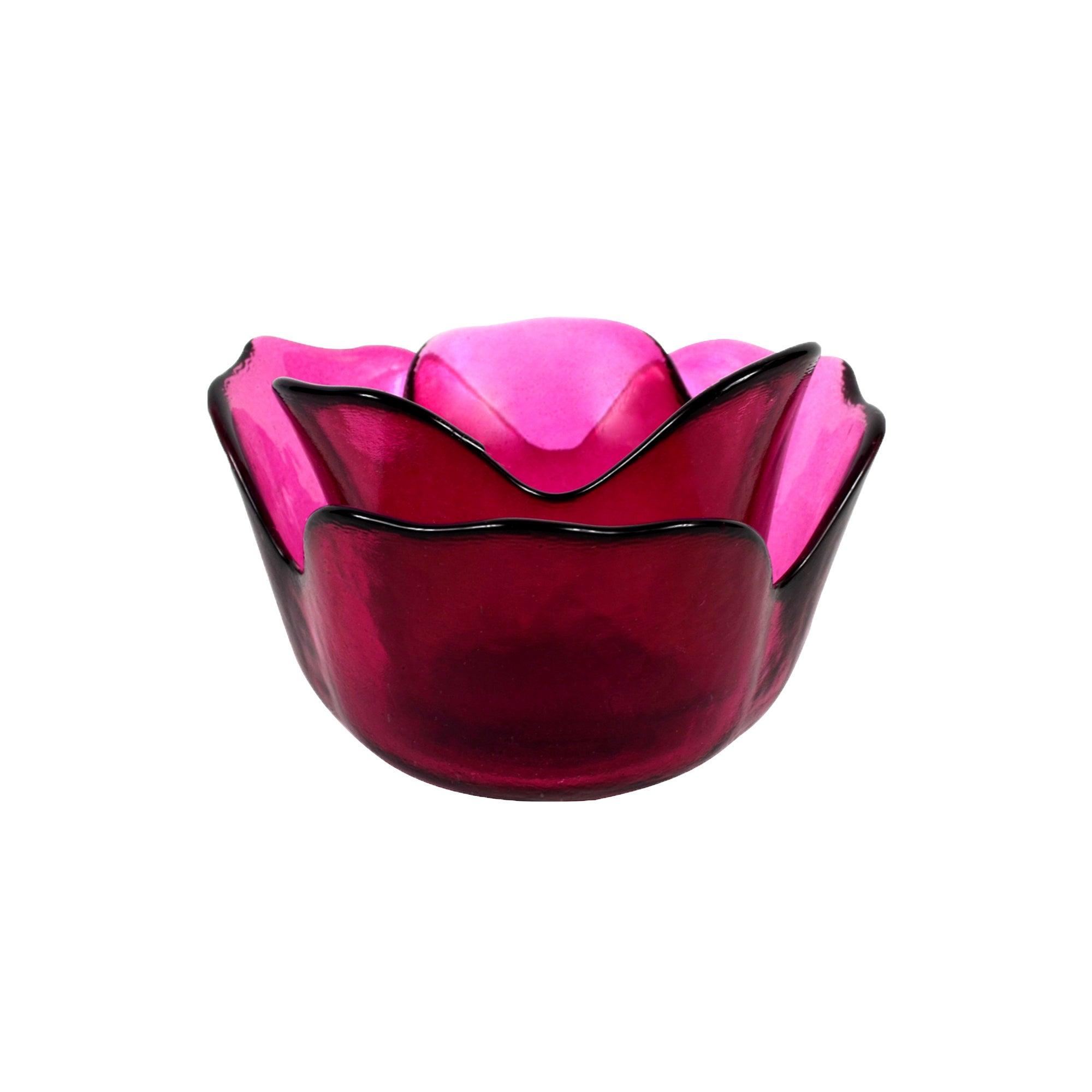 Plum Pudding Collection Glass Rose Tea Light Holder