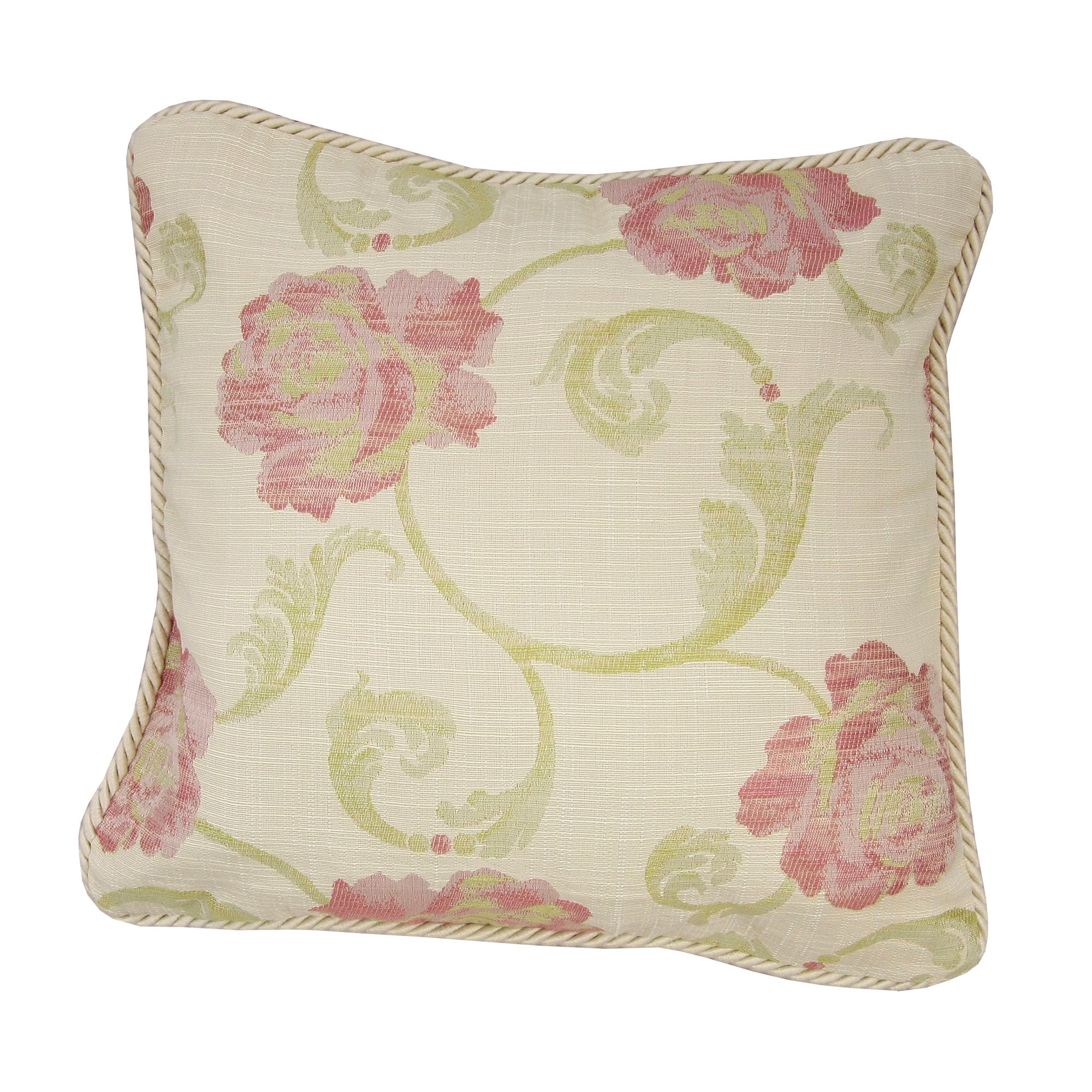 Cream Isabella Collection Floral Cushion