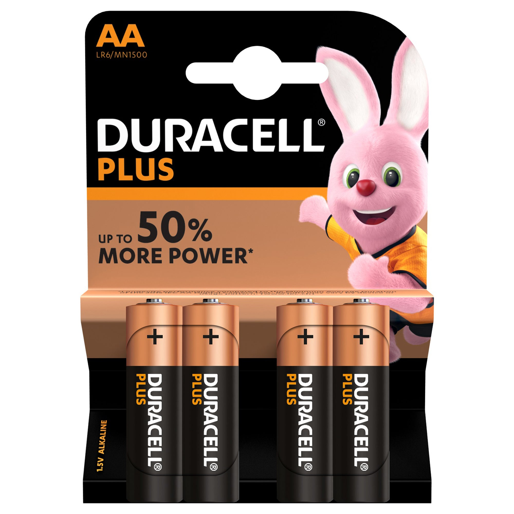 Duracell Pack of 4 Plus AA Batteries Multi Coloured