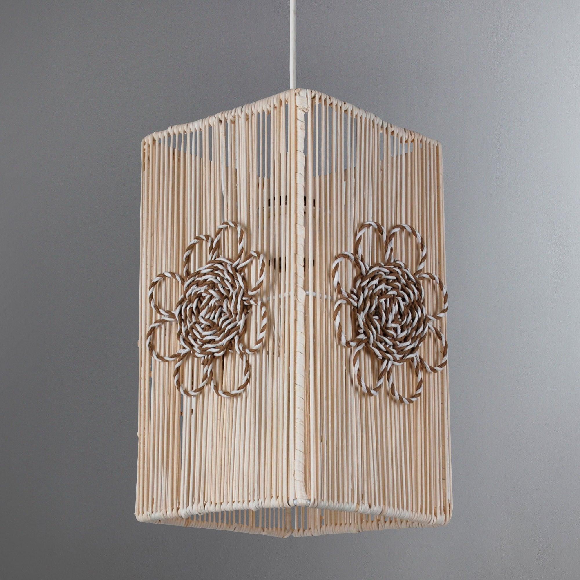 Square Rattan Flower Ceiling Pendant
