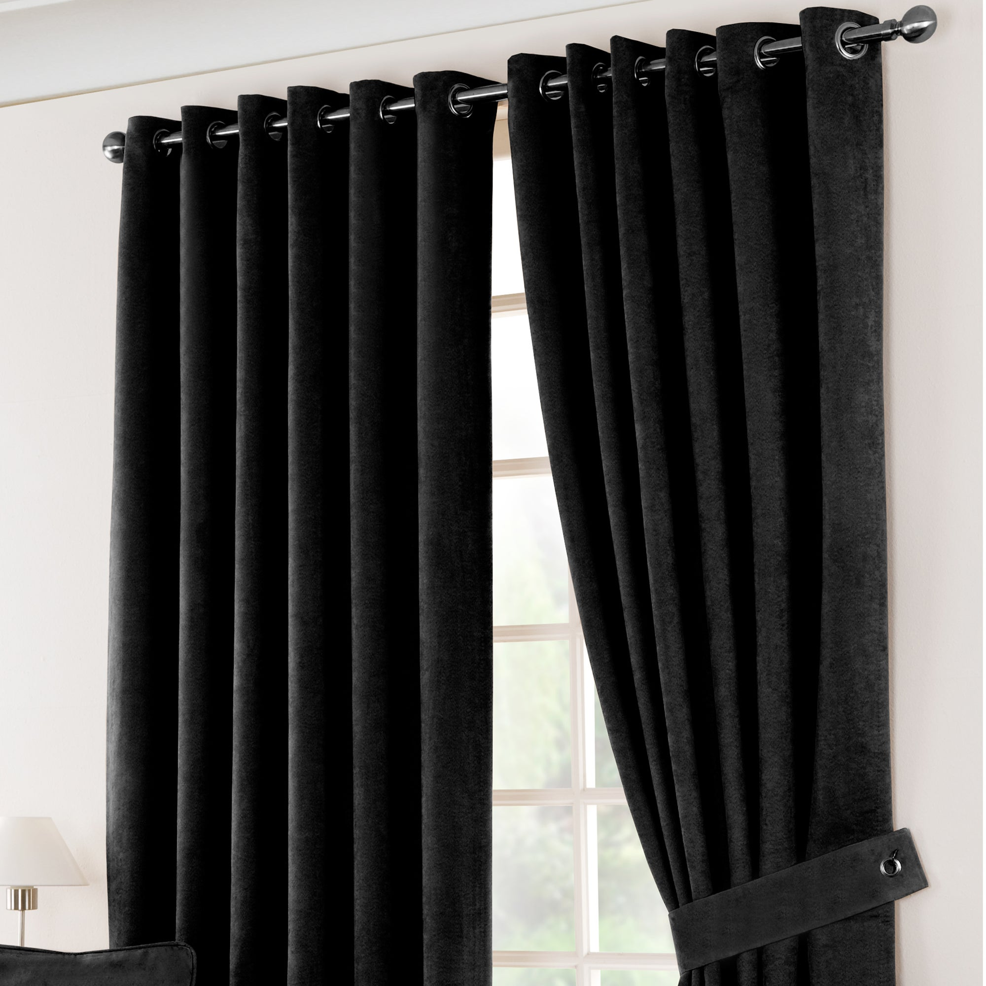 Black Suede Blackout Eyelet Curtains