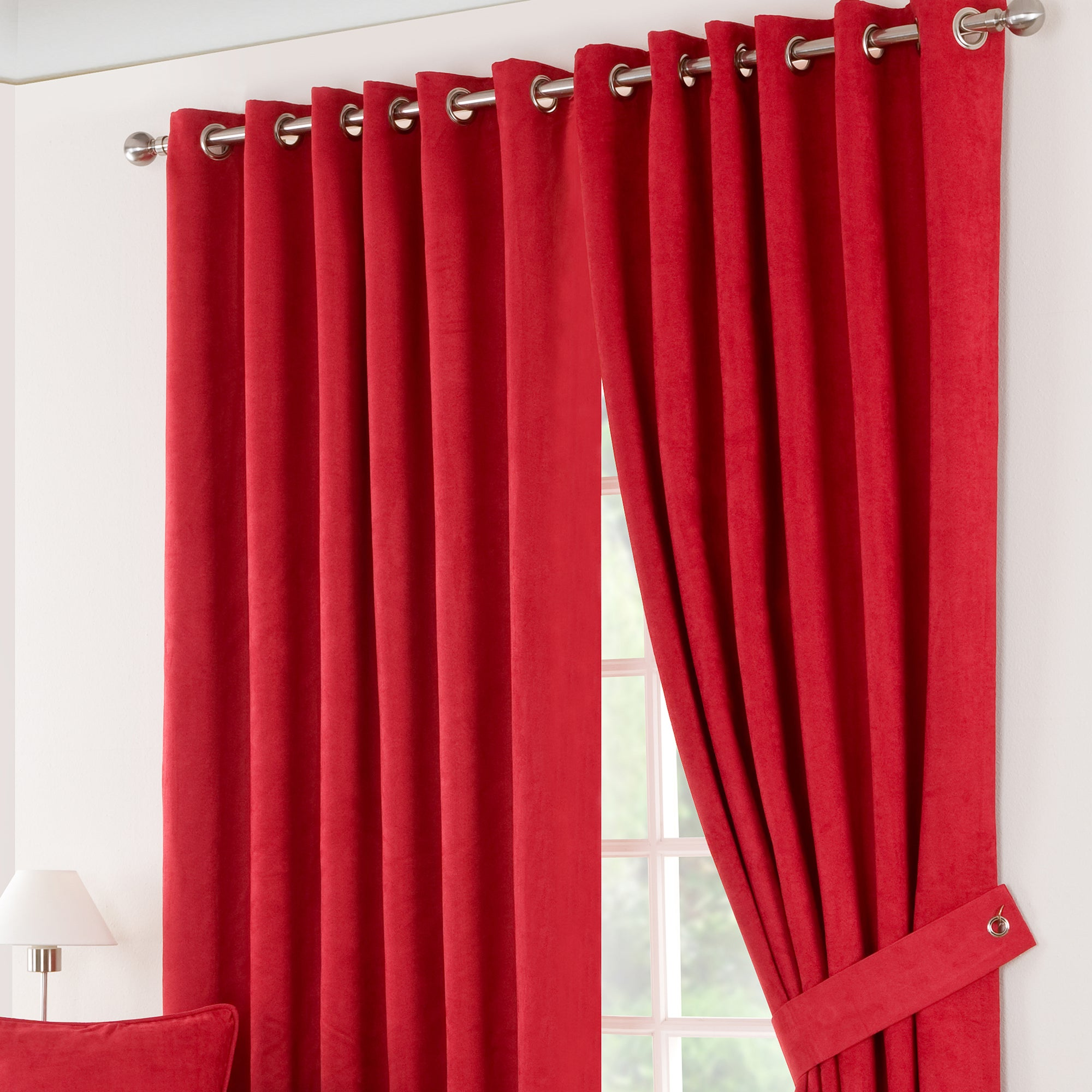 Red Suede Blackout Eyelet Curtains