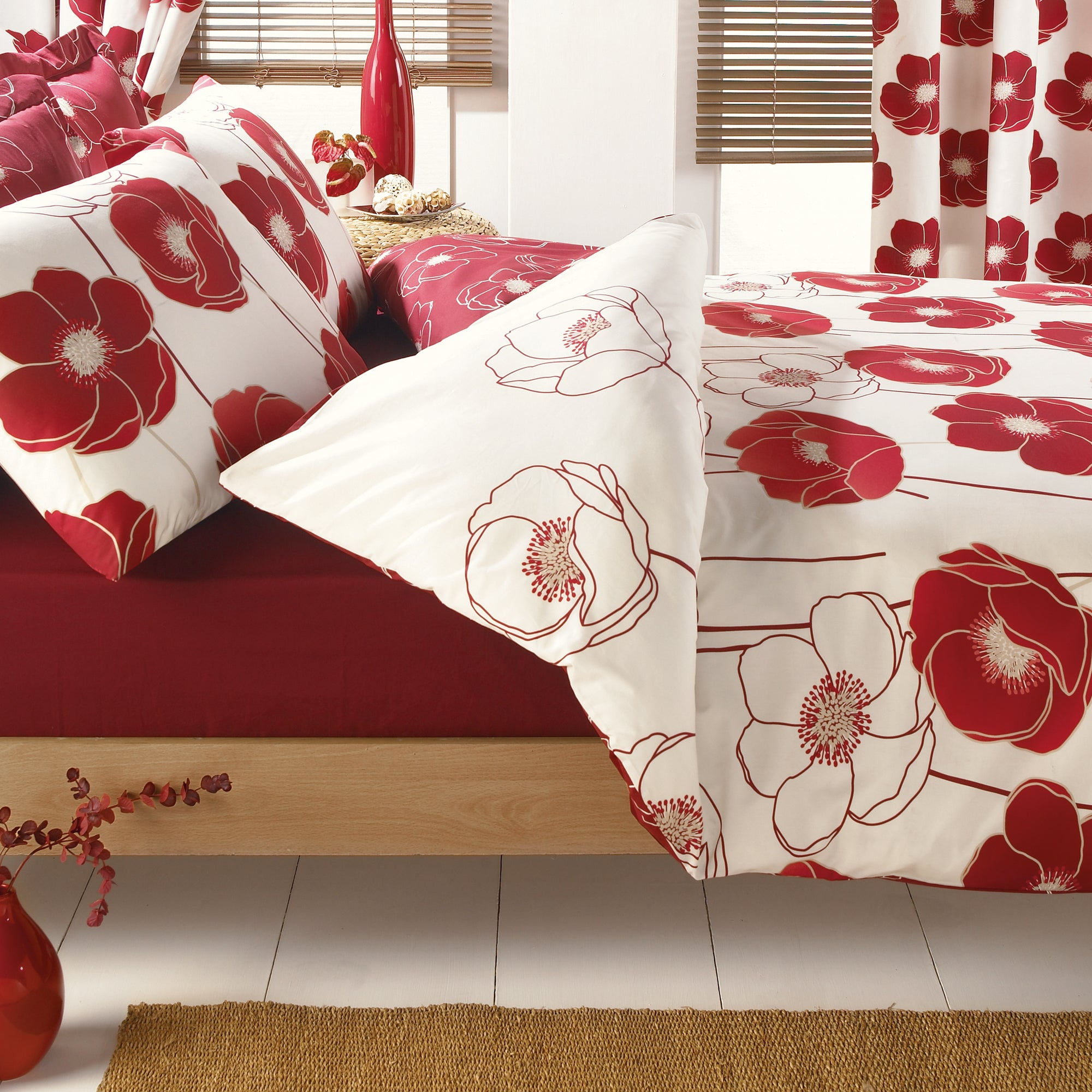 Red Poppy Collection Duvet Cover Set