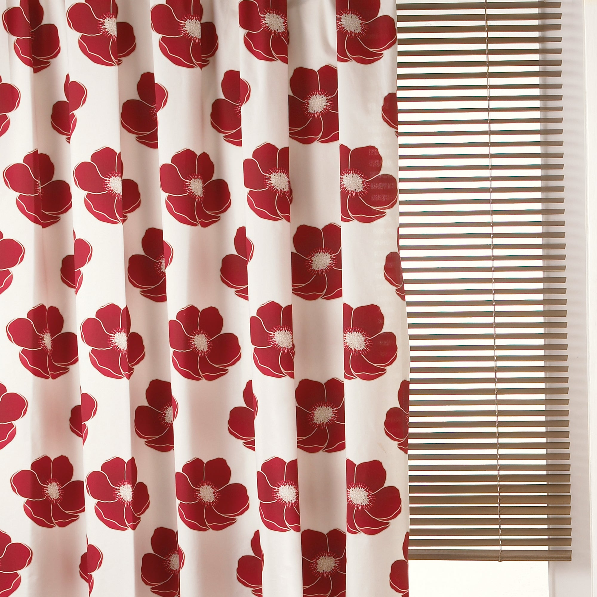 Red Poppy Pencil Pleat Curtains