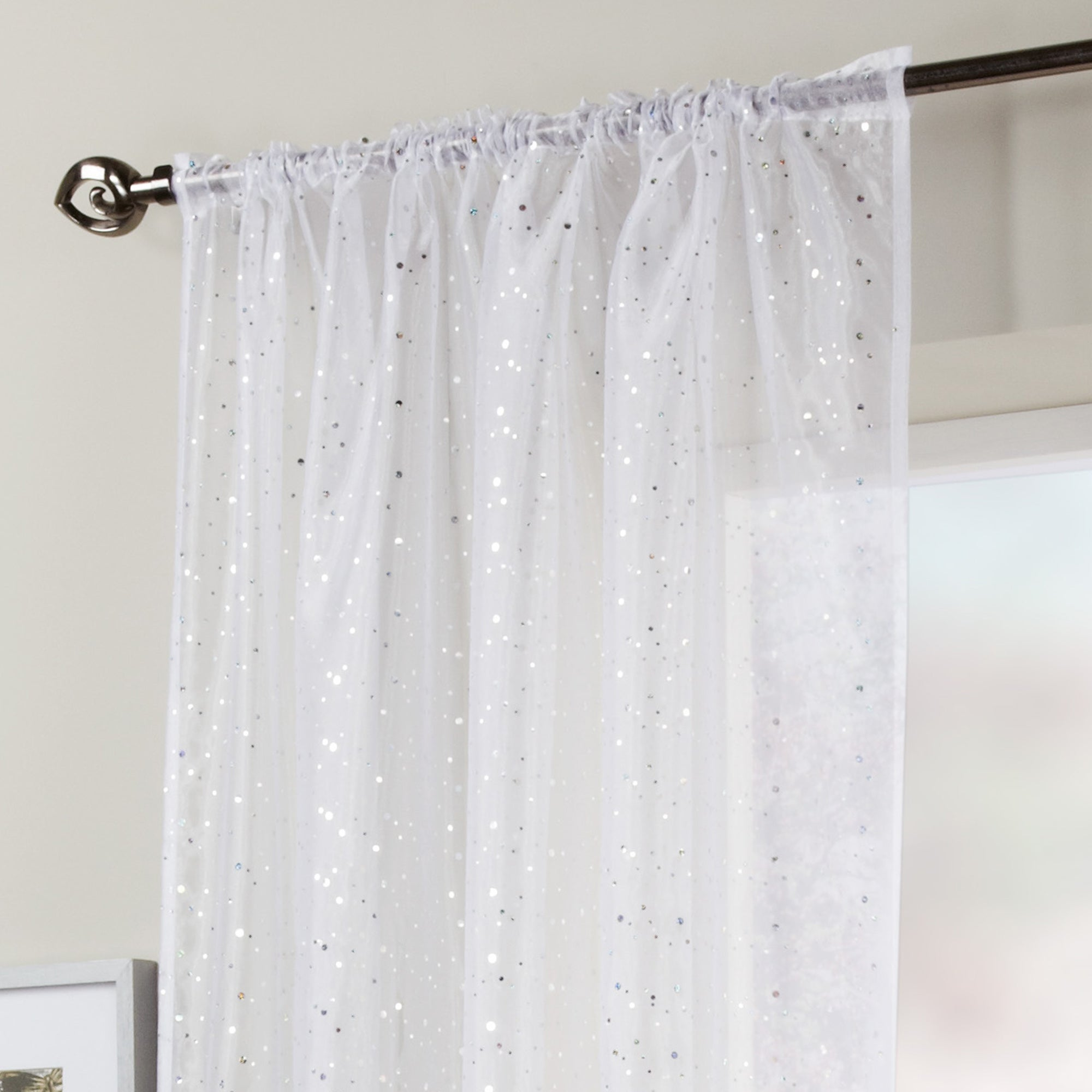 White Sparkle Voile Panel