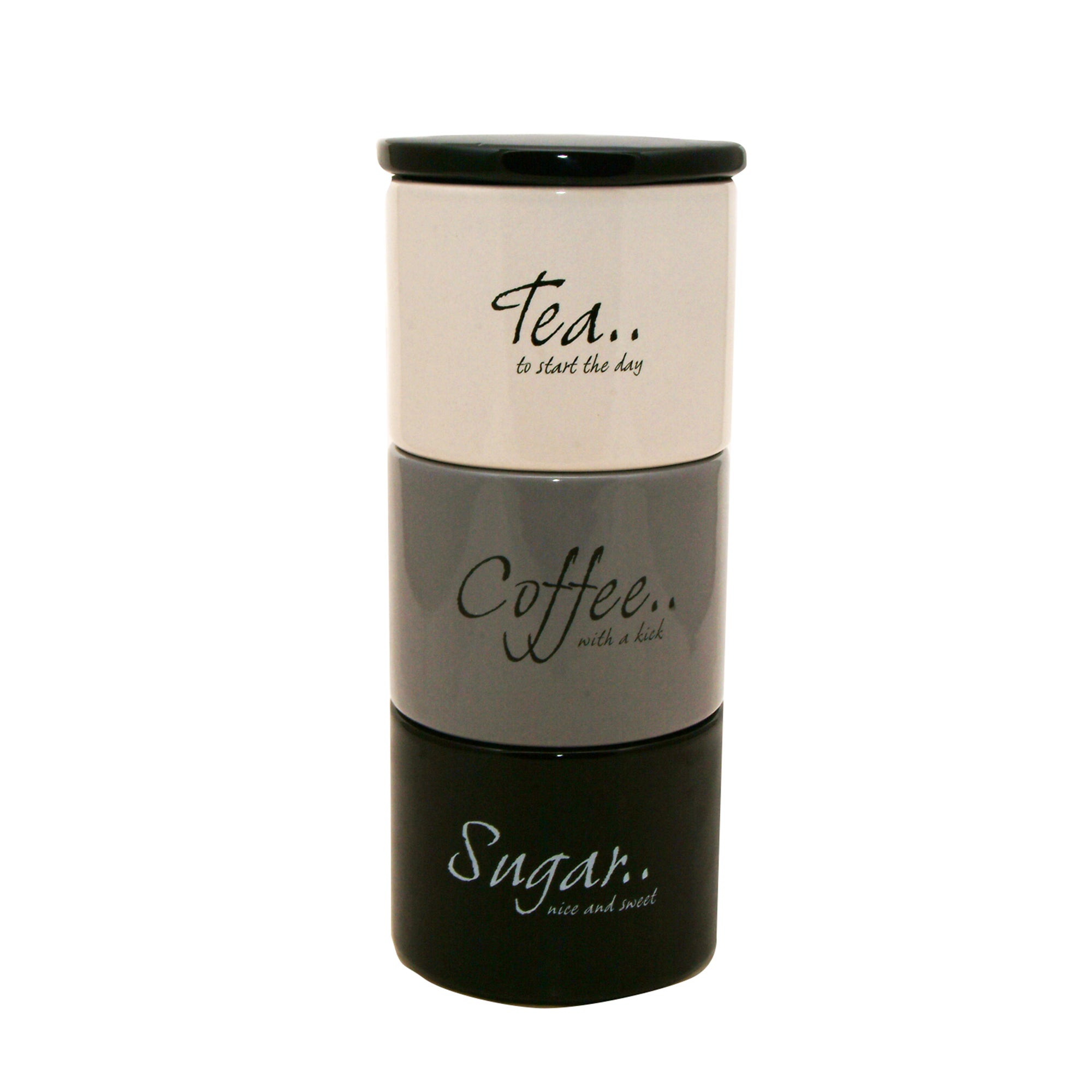Monochrome Stack of Tea, Coffee and Sugar Storage Jars