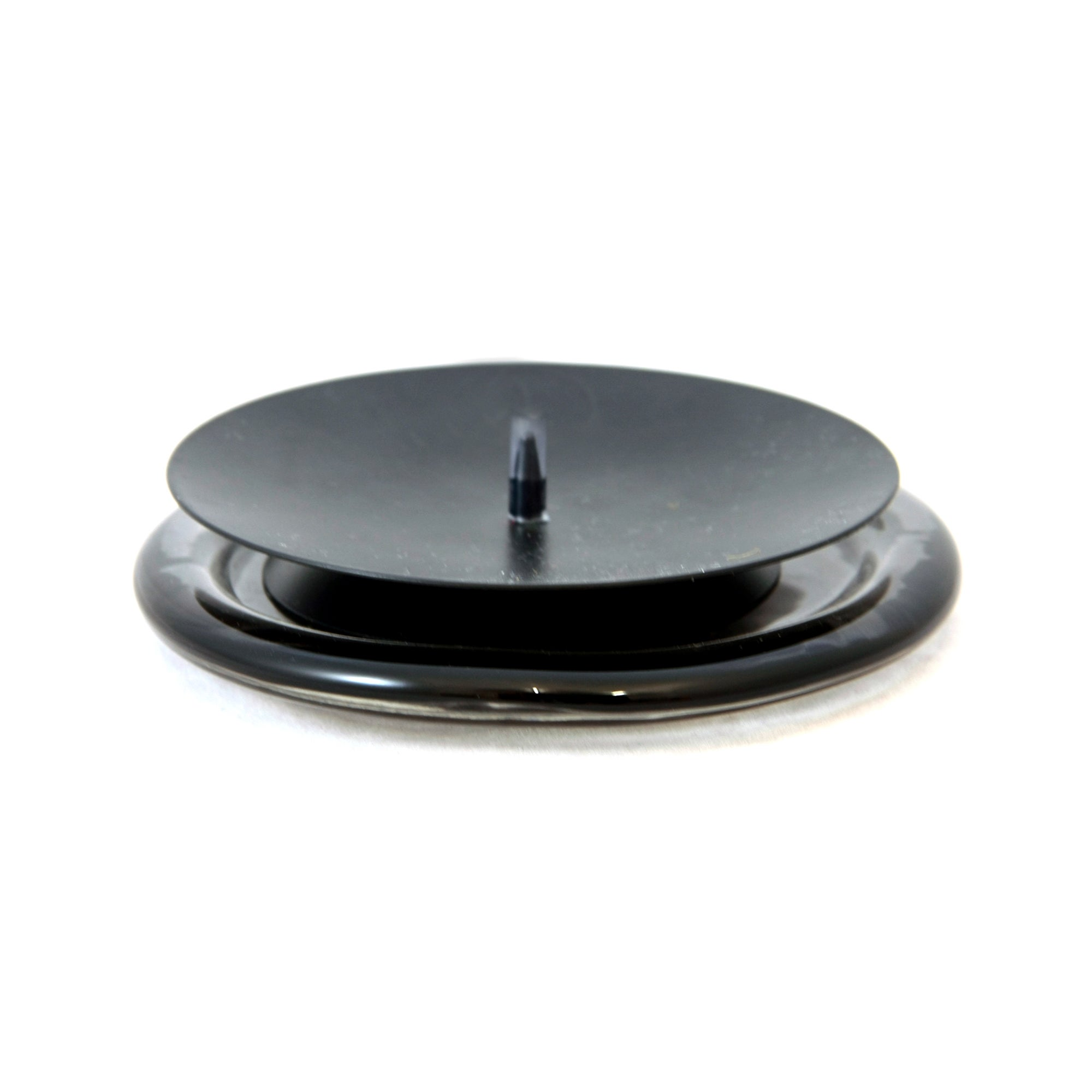 Black Metal Candle Plate with Spike