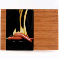 Hot Chilli Collection Bamboo Chopping Board with Glass Inserts