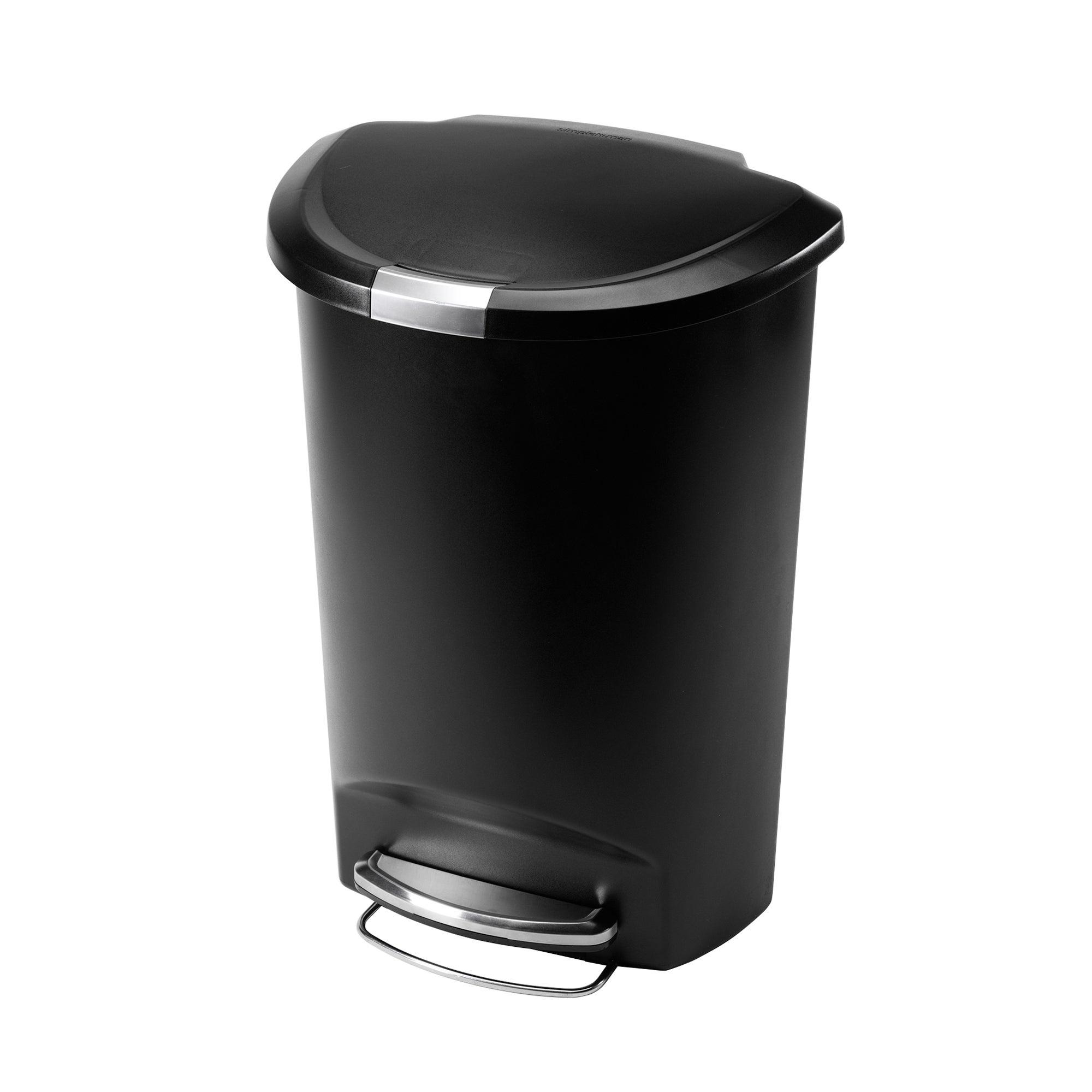 simplehuman 50 Litre Semi Round Plastic Black Pedal Bin