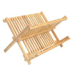 T & G Hevea Wood Folding Plate Rack