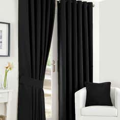 Black Twill Lined Eyelet Curtains