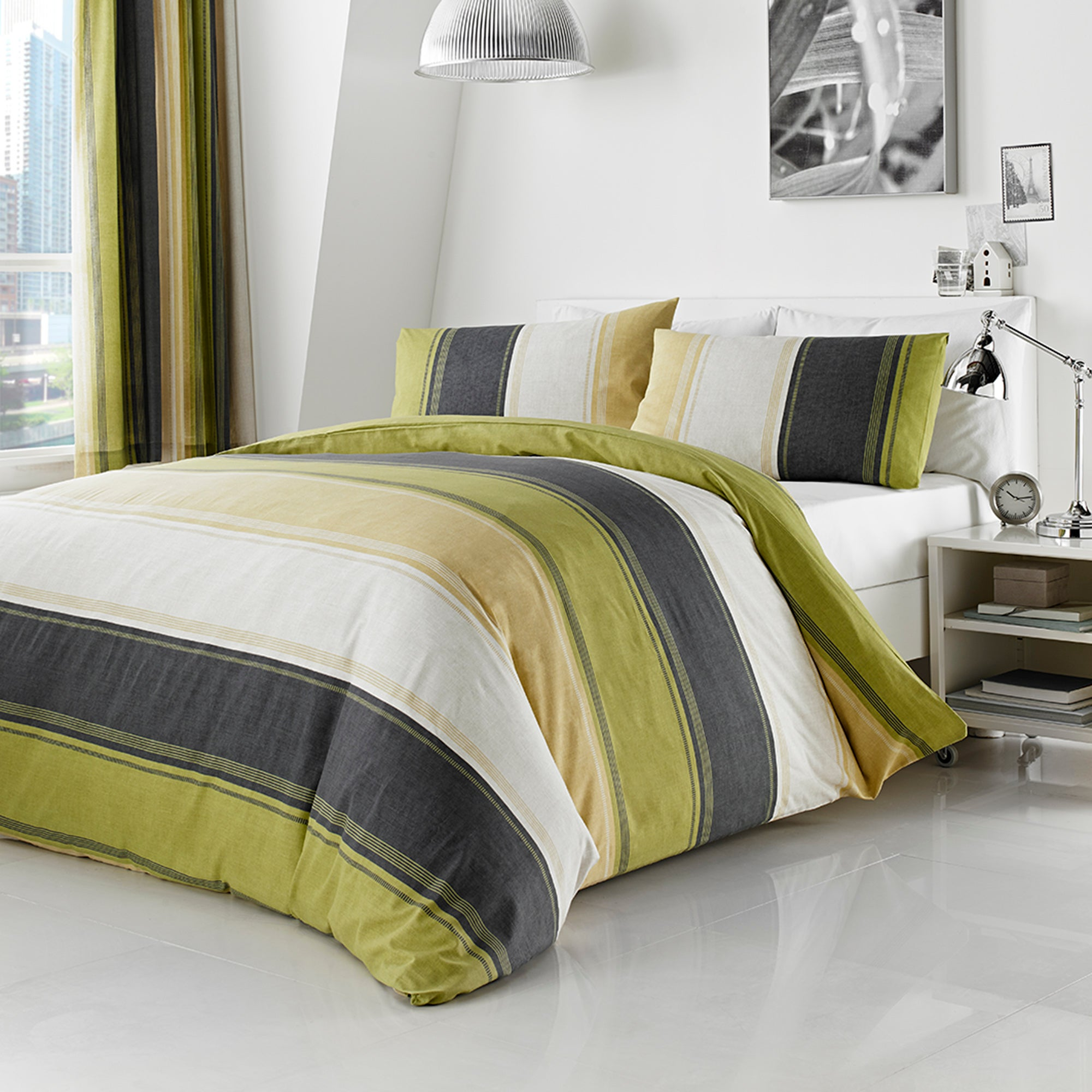 green finley collection duvet cover set dunelm. Black Bedroom Furniture Sets. Home Design Ideas