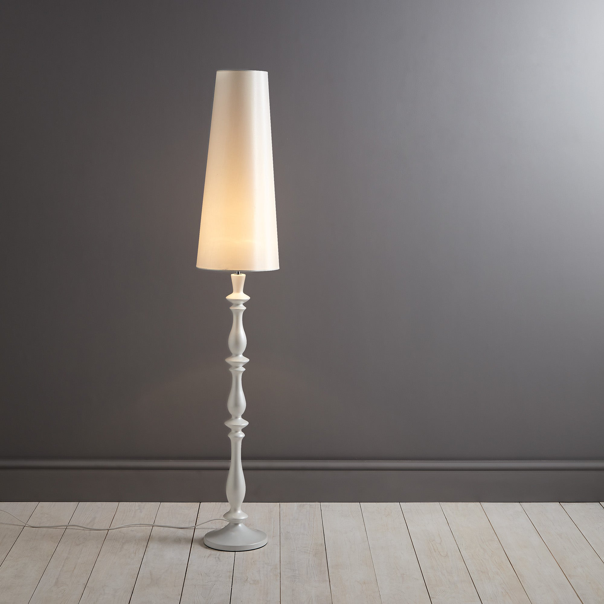 Boudoir Turned Wooden Floor Lamp