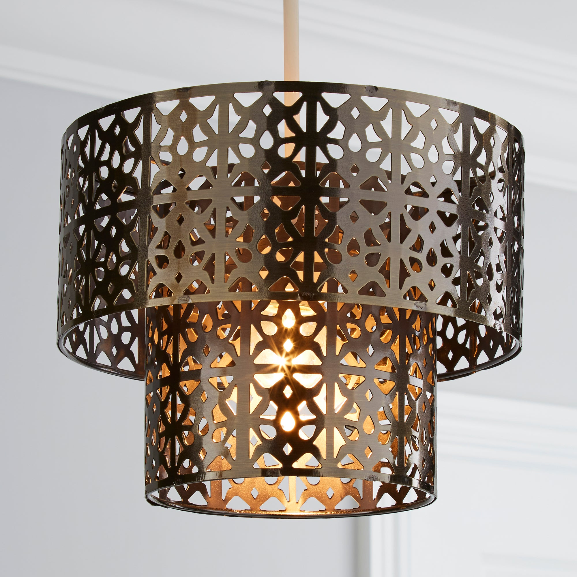 Cut Out Metal 2 Tier Pendant