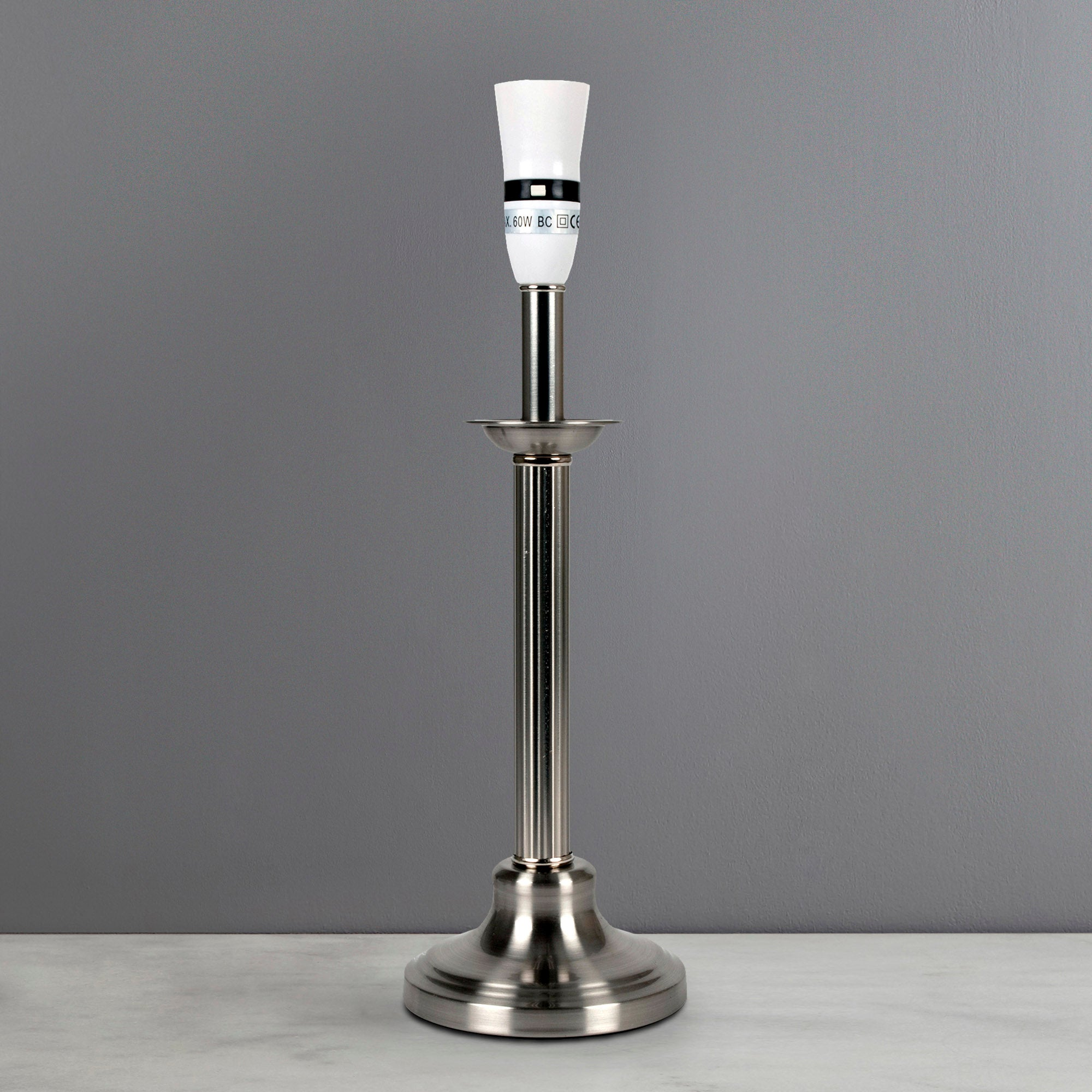Chrome Fluted Candlestick Lamp Base