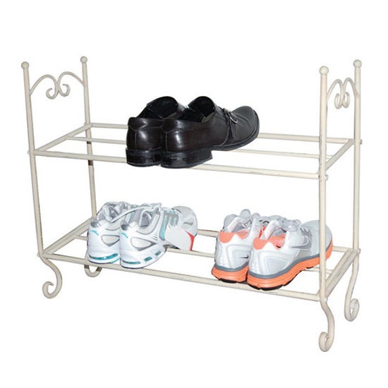 Vintage Cream 2 Tier Shoe Rack