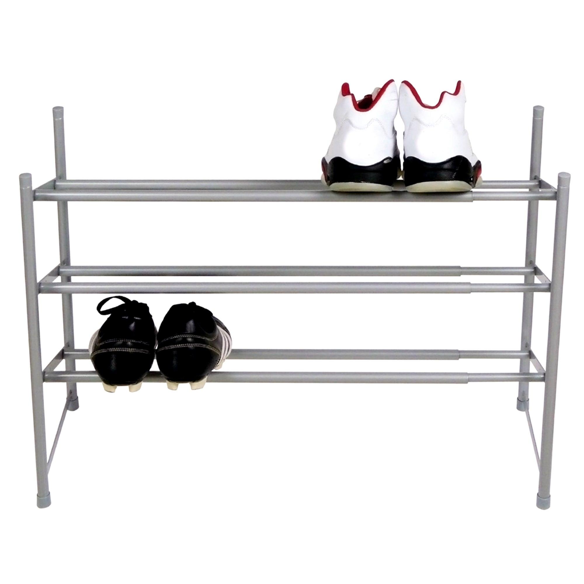 silver 3 tier extending shoe rack. Black Bedroom Furniture Sets. Home Design Ideas
