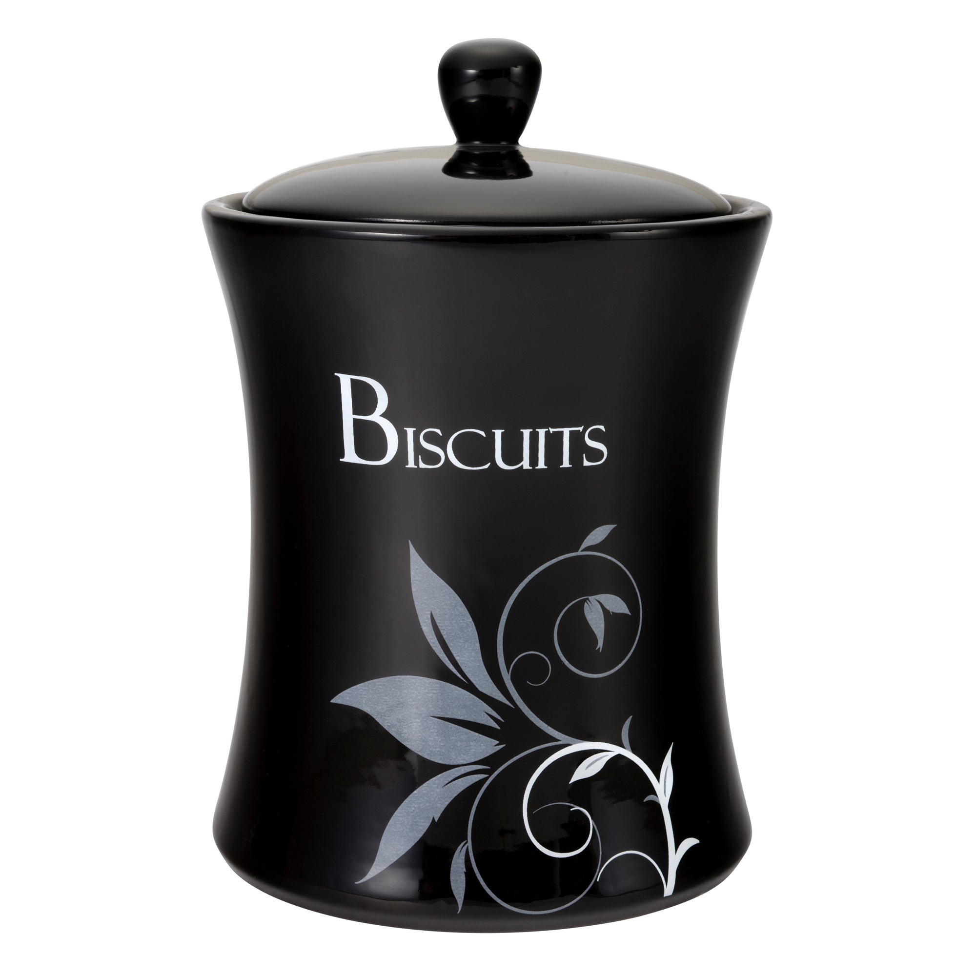 Fleur Collection Black Biscuit Storage Jar