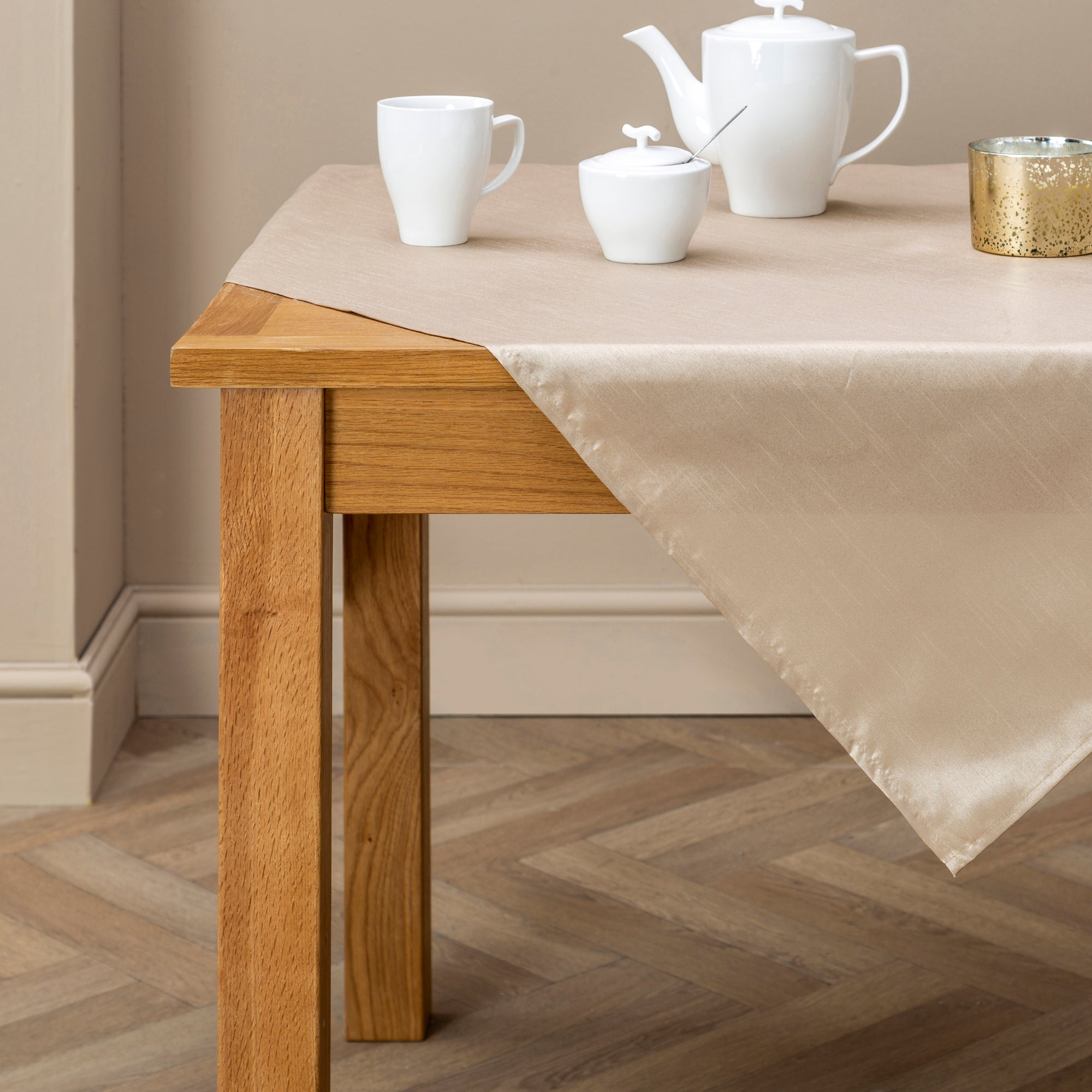 Oyster Faux Silk Collection Tablecloth