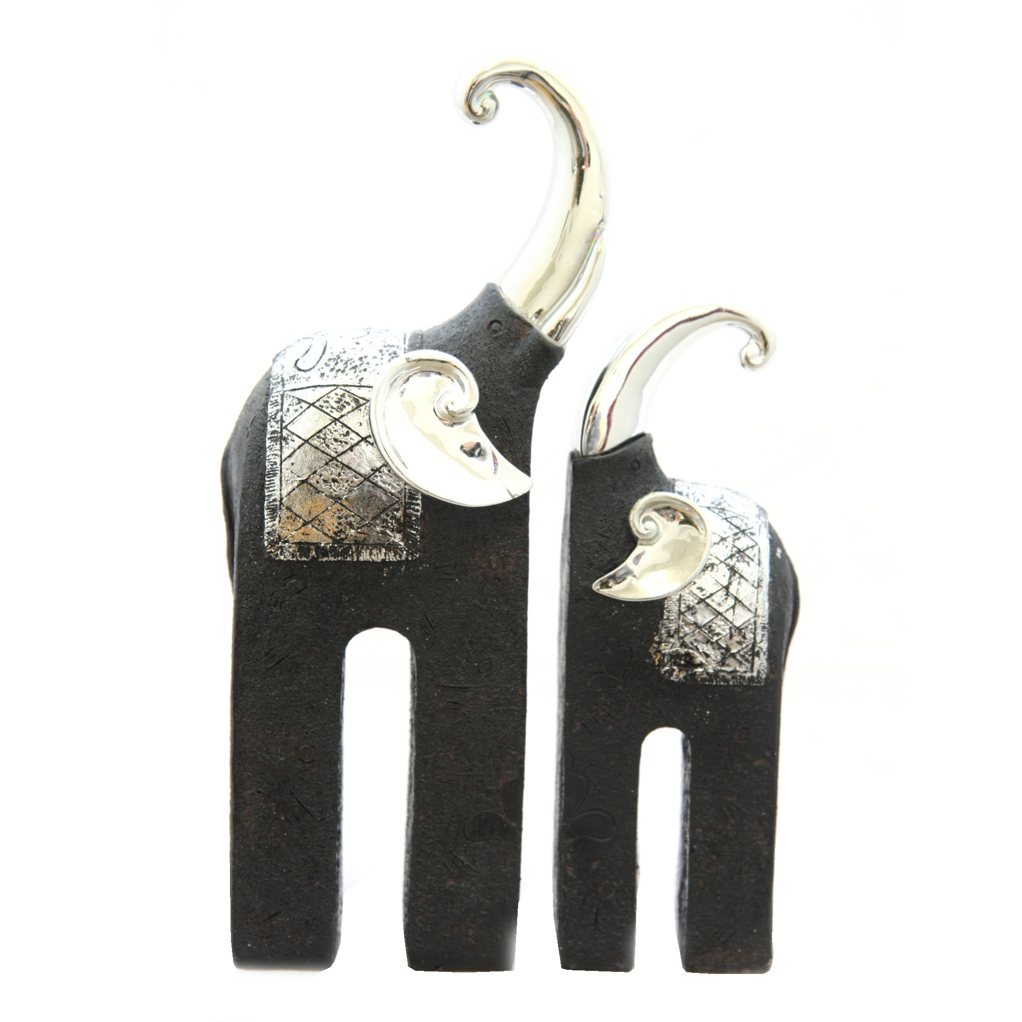 Black Ice Collection Set of 2 Kissing Elephants