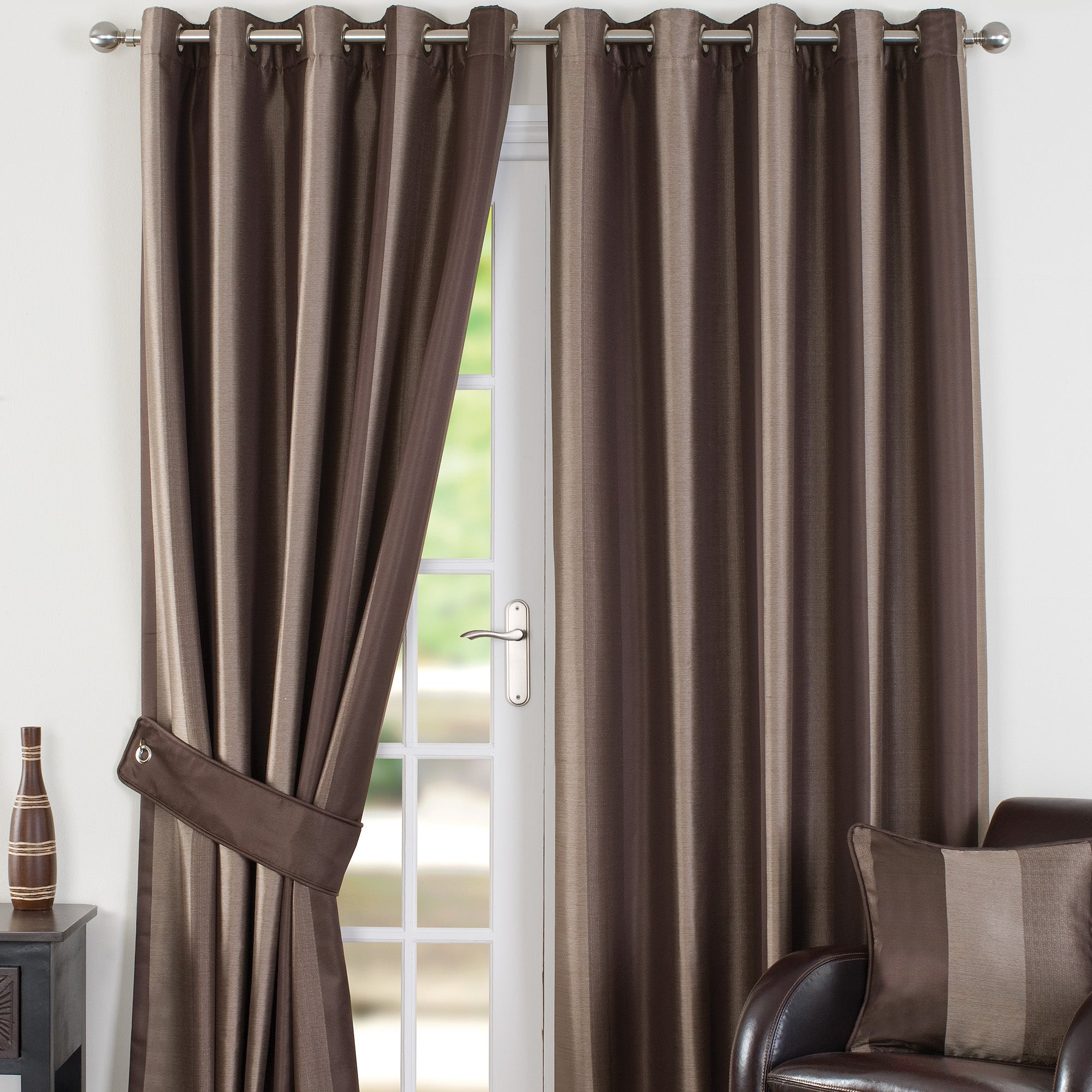 Chocolate Monaco Lined Eyelet Curtains